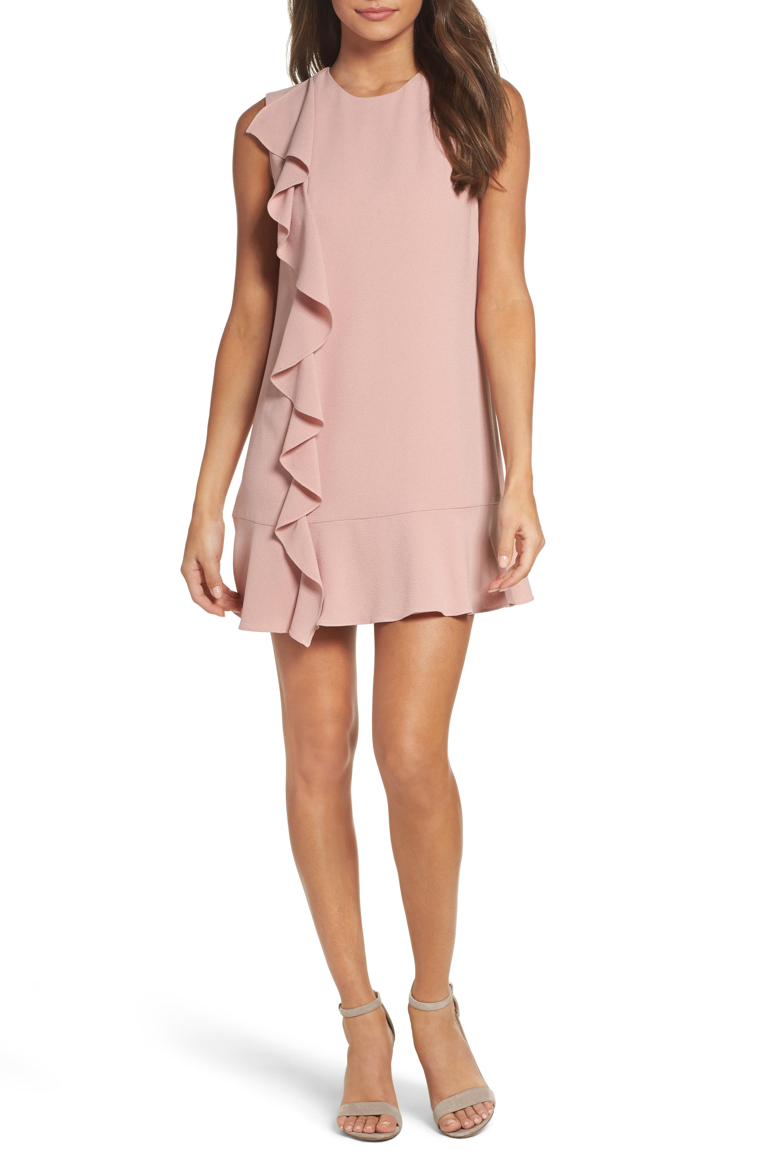 Ruffle Shift Dress,                             Main thumbnail 1, color,                             Blush