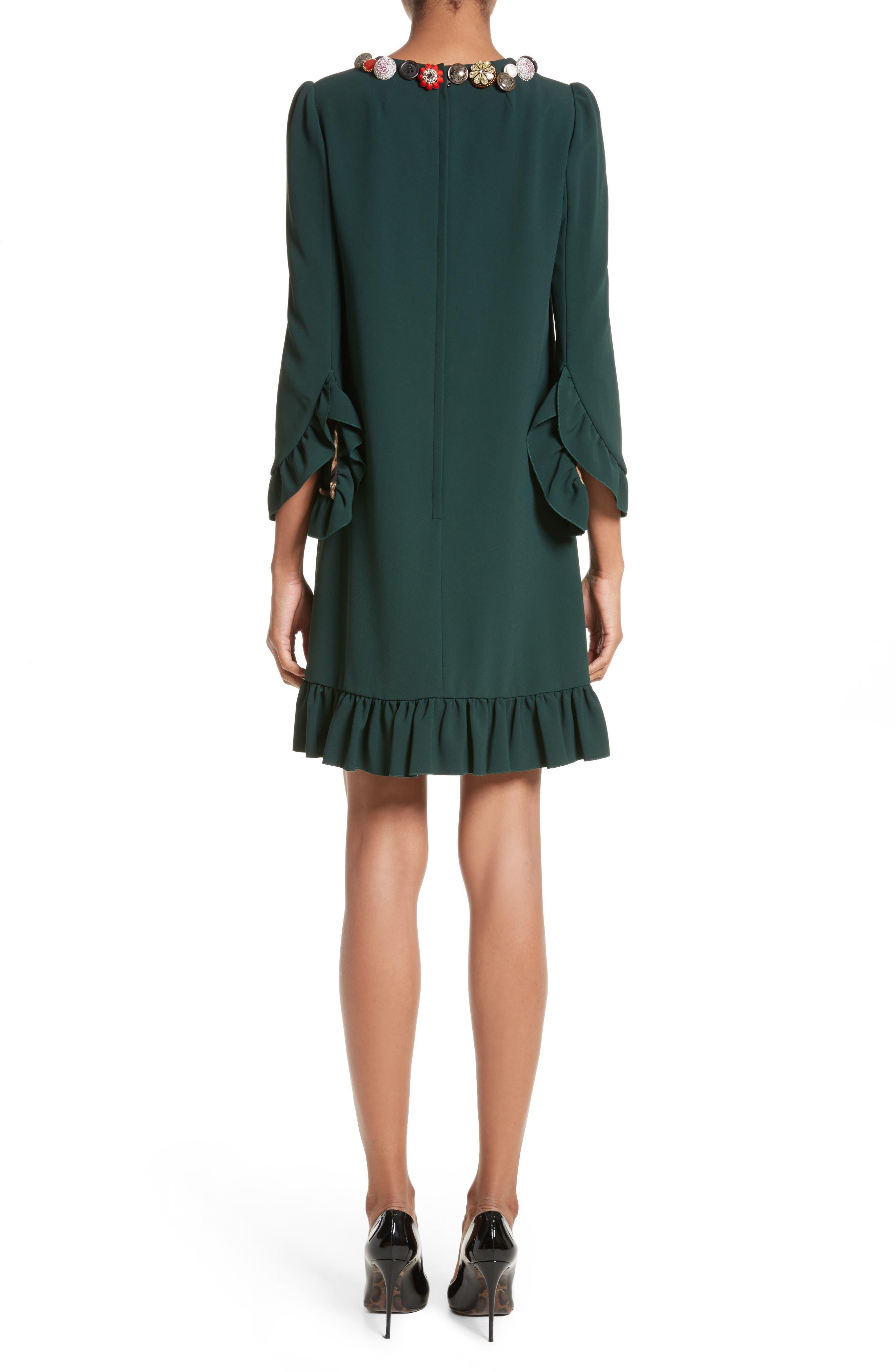 Button Trim Ruffle Hem Dress,                             Alternate thumbnail 2, color,                             Dark Green