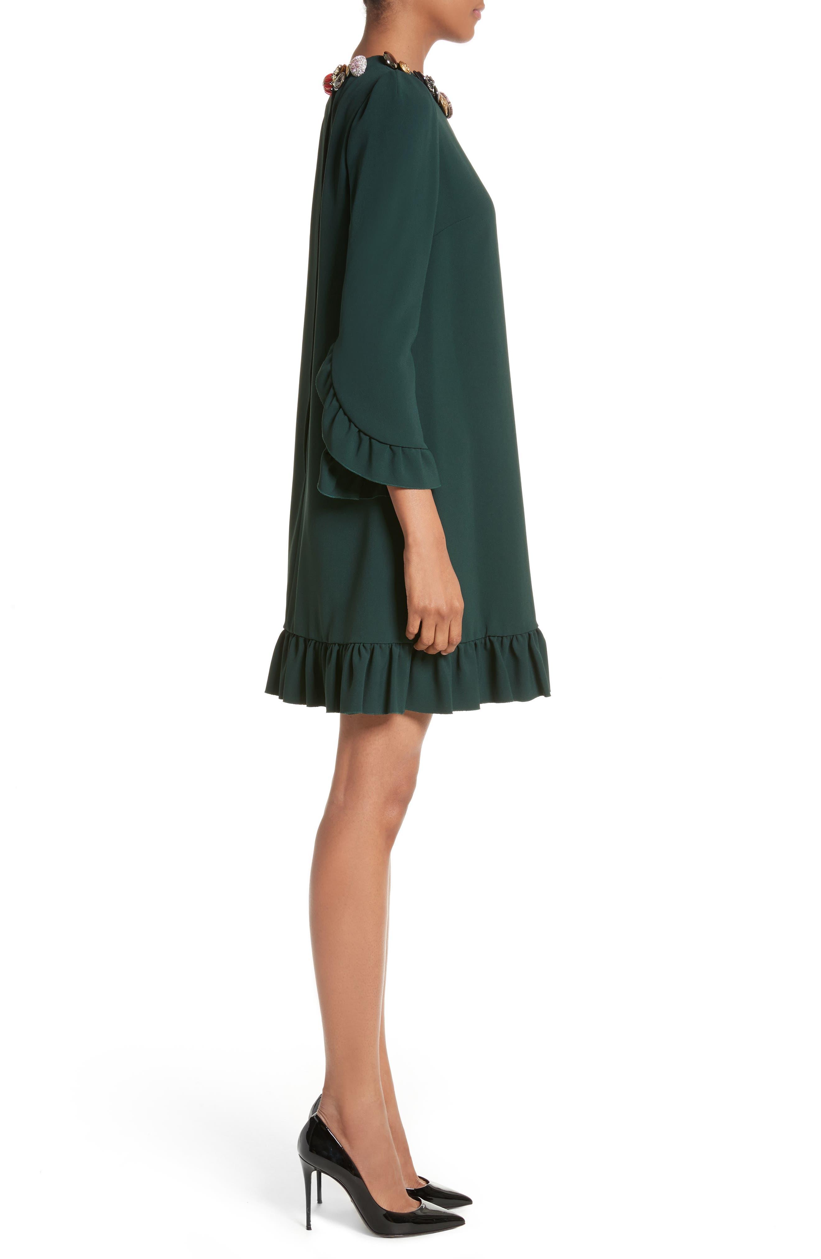 Button Trim Ruffle Hem Dress,                             Alternate thumbnail 3, color,                             Dark Green