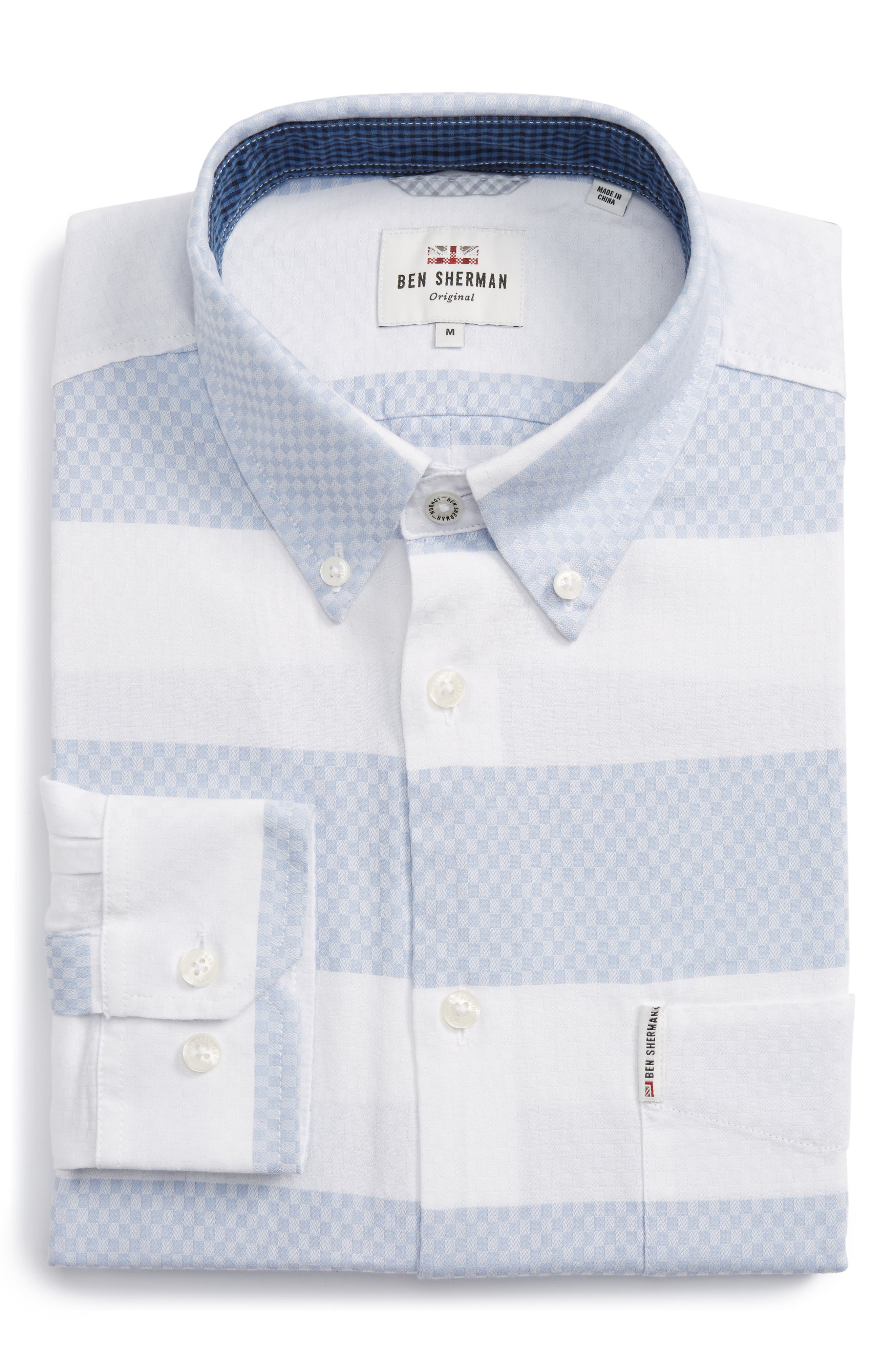 Dobby Gingham Stripes Shirt,                         Main,                         color, White