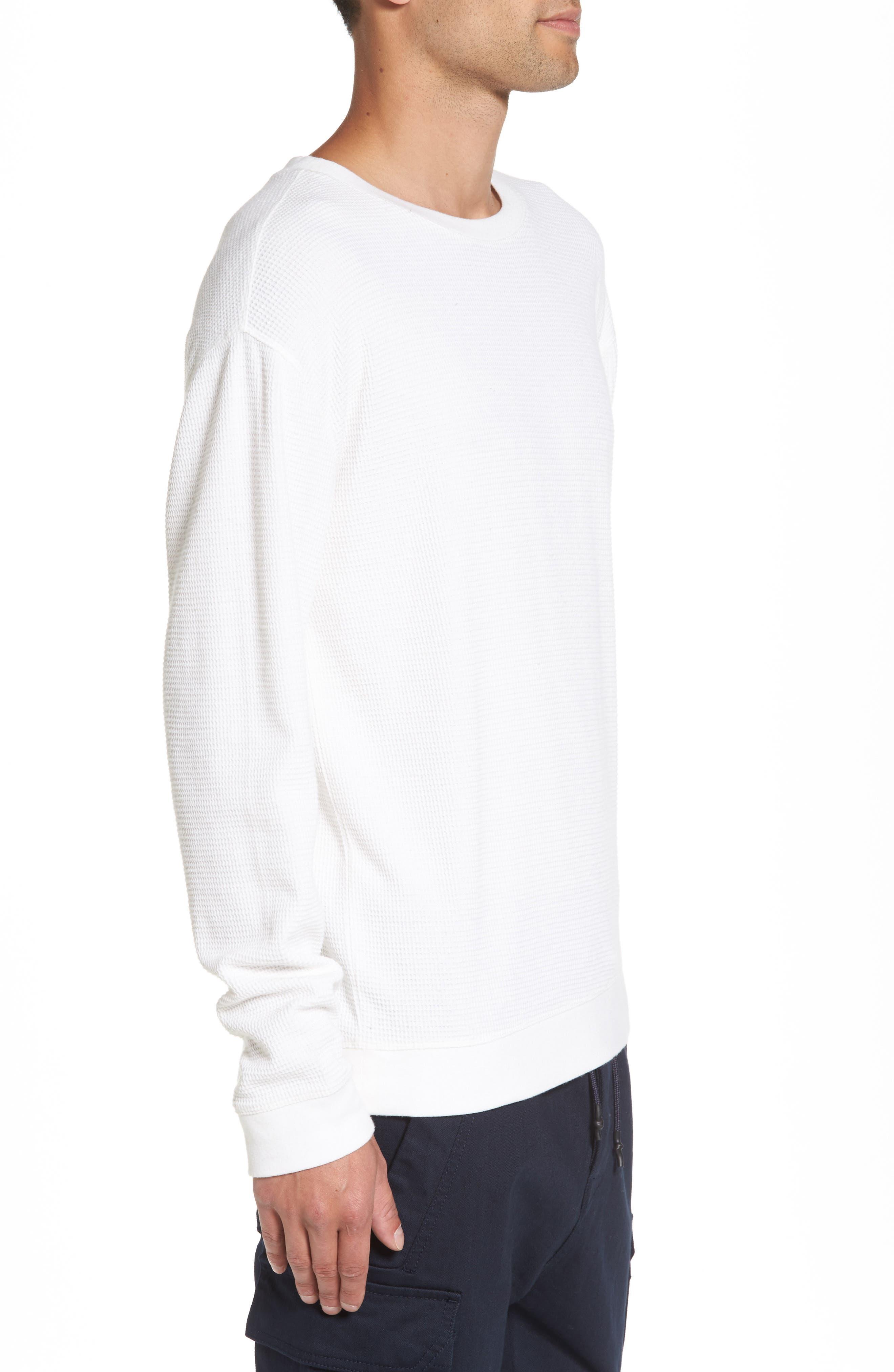 Waffle Knit Sweatshirt,                             Alternate thumbnail 3, color,                             White