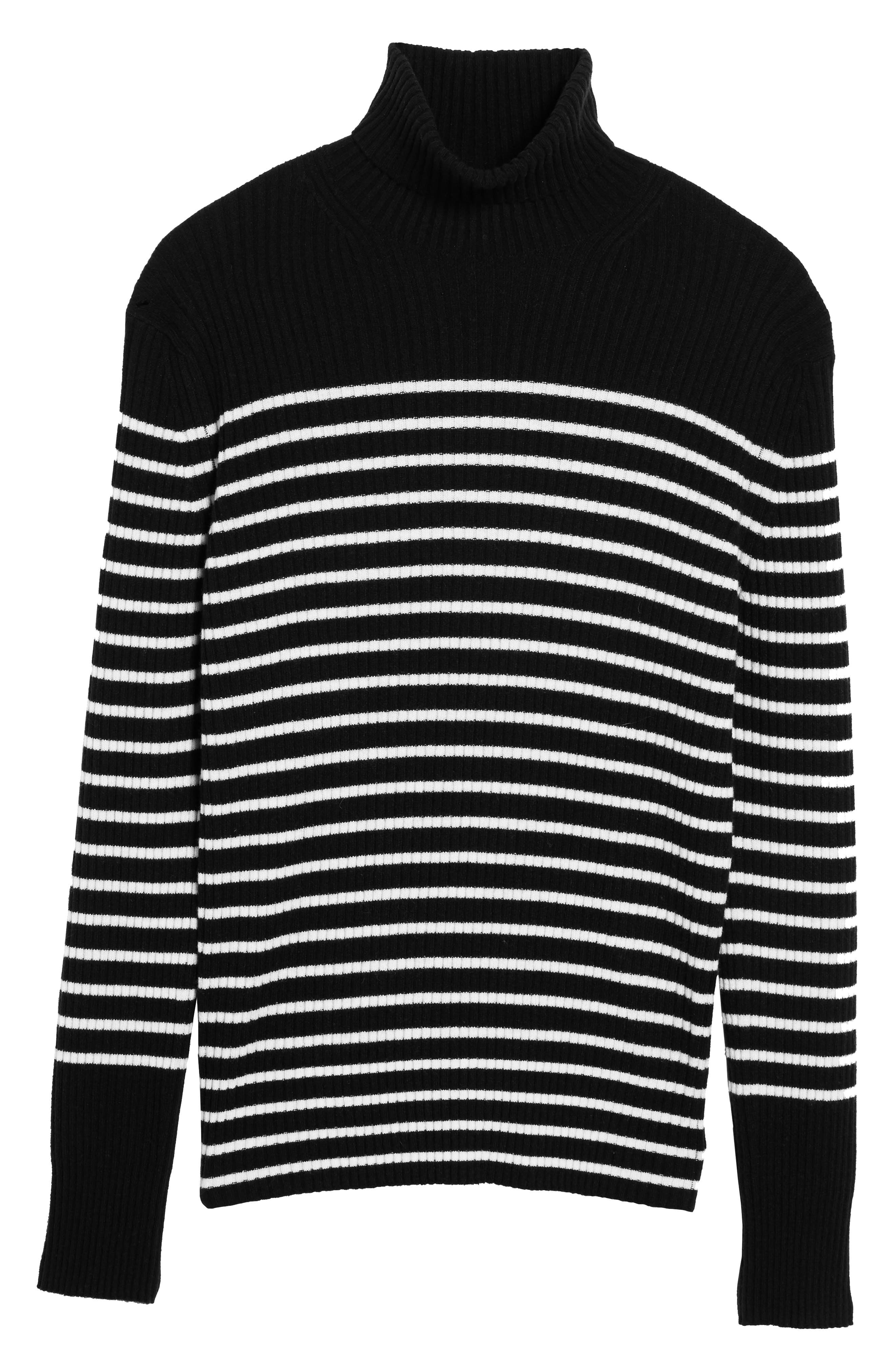 Regular Fit Breton Stripe Cashmere Turtleneck Sweater,                             Alternate thumbnail 5, color,                             Coastal/ Breeze