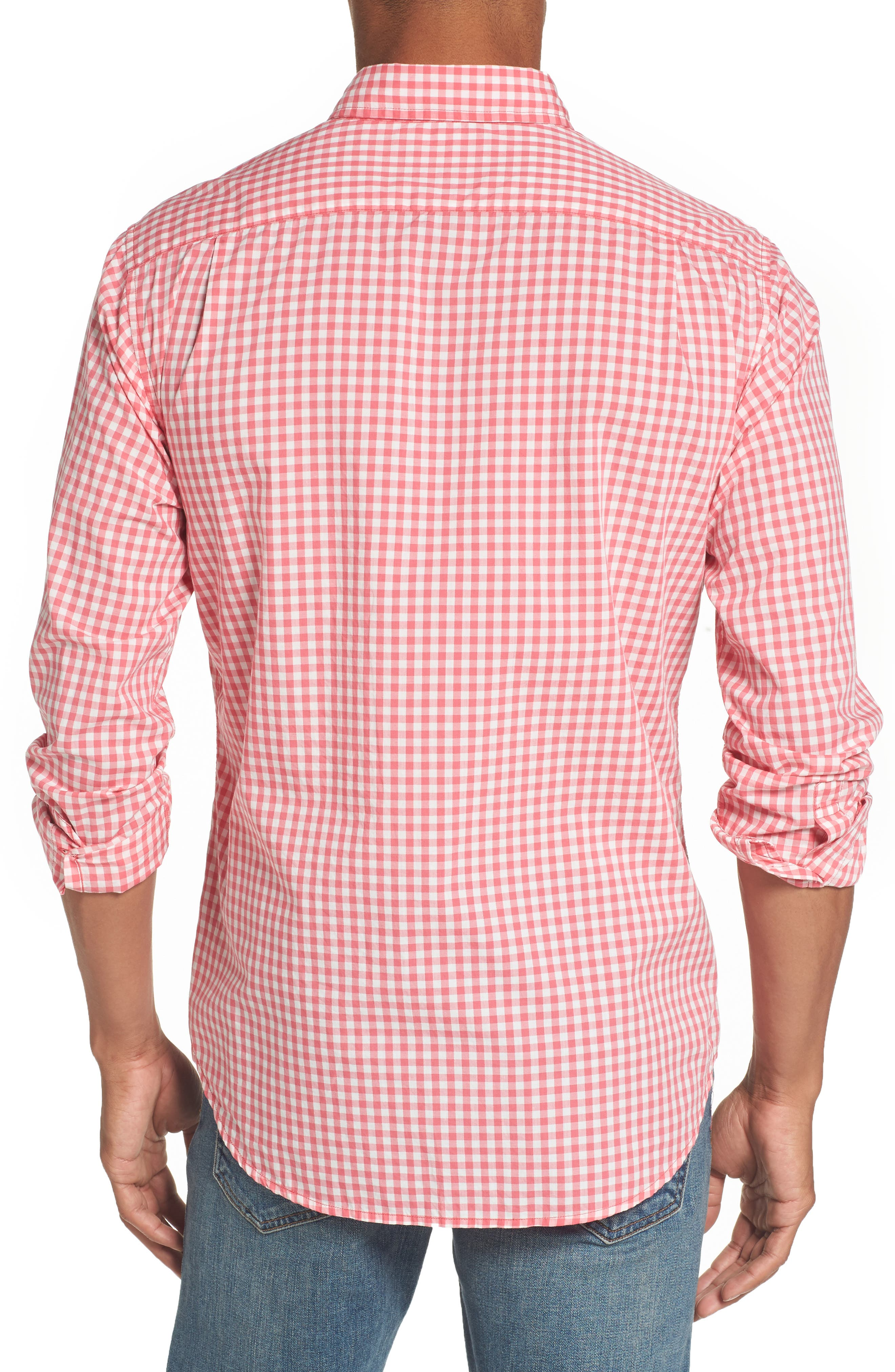 Slim Fit Summerweight Check Sport Shirt,                             Alternate thumbnail 2, color,                             Coral Ribbon Gingham