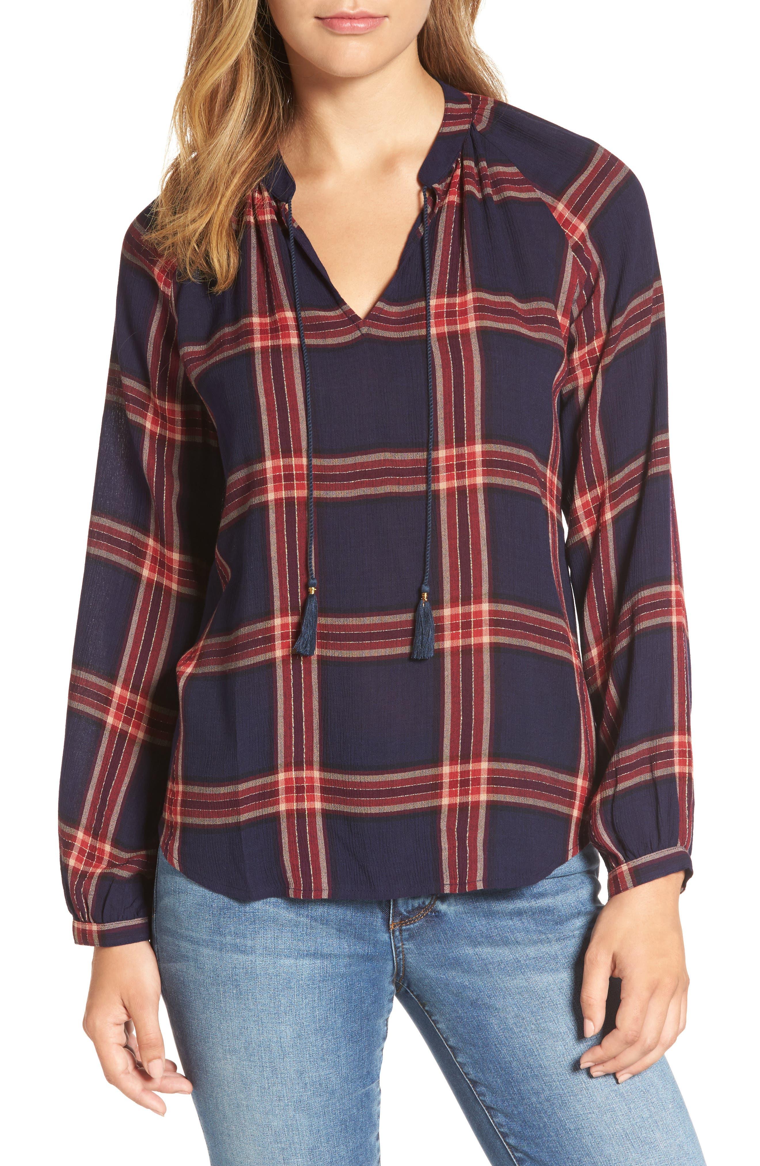 Plaid Shirt,                             Main thumbnail 1, color,                             Navy Multi