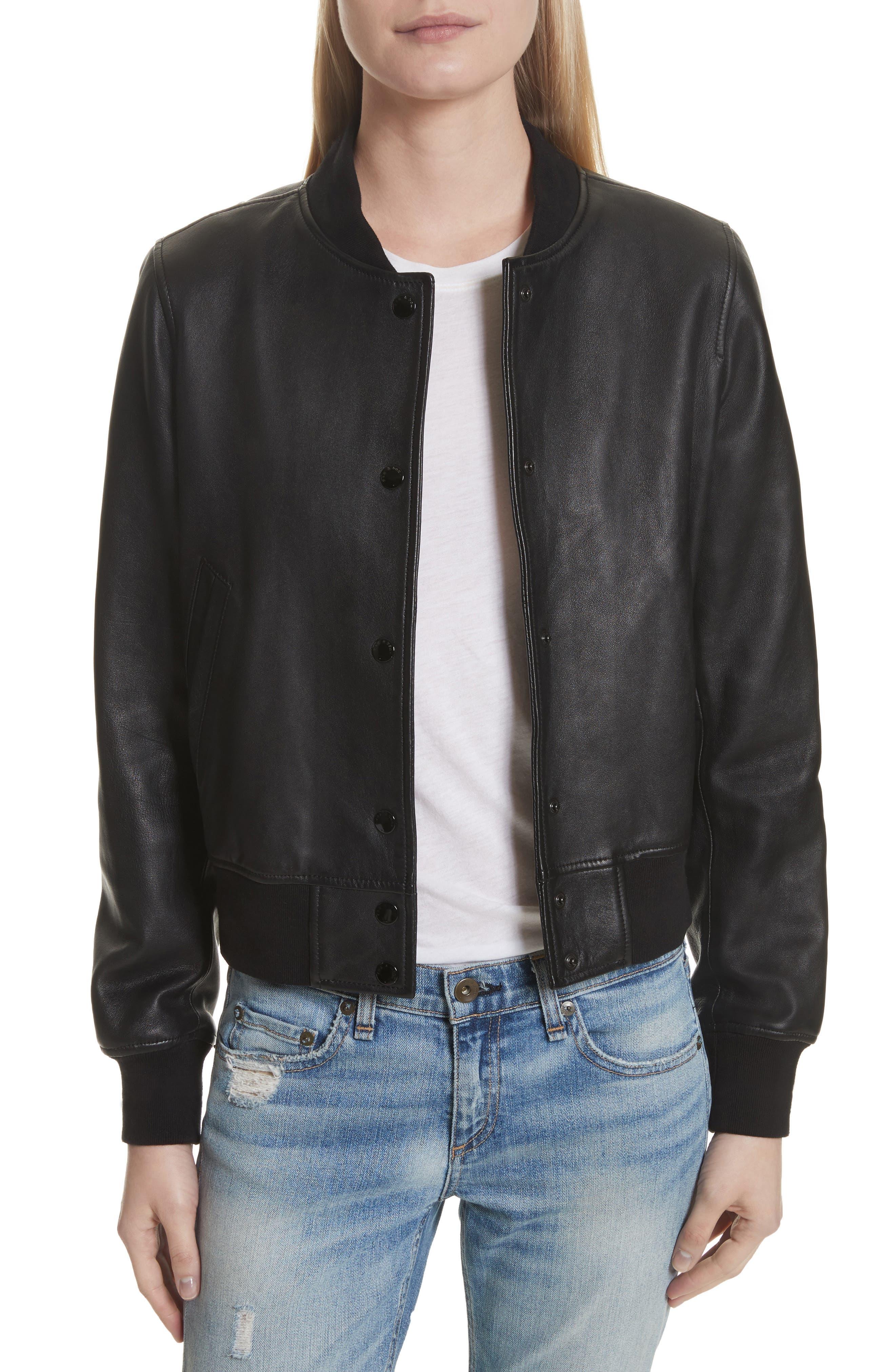 RAG & BONE Cooper Leather Varsity Jacket