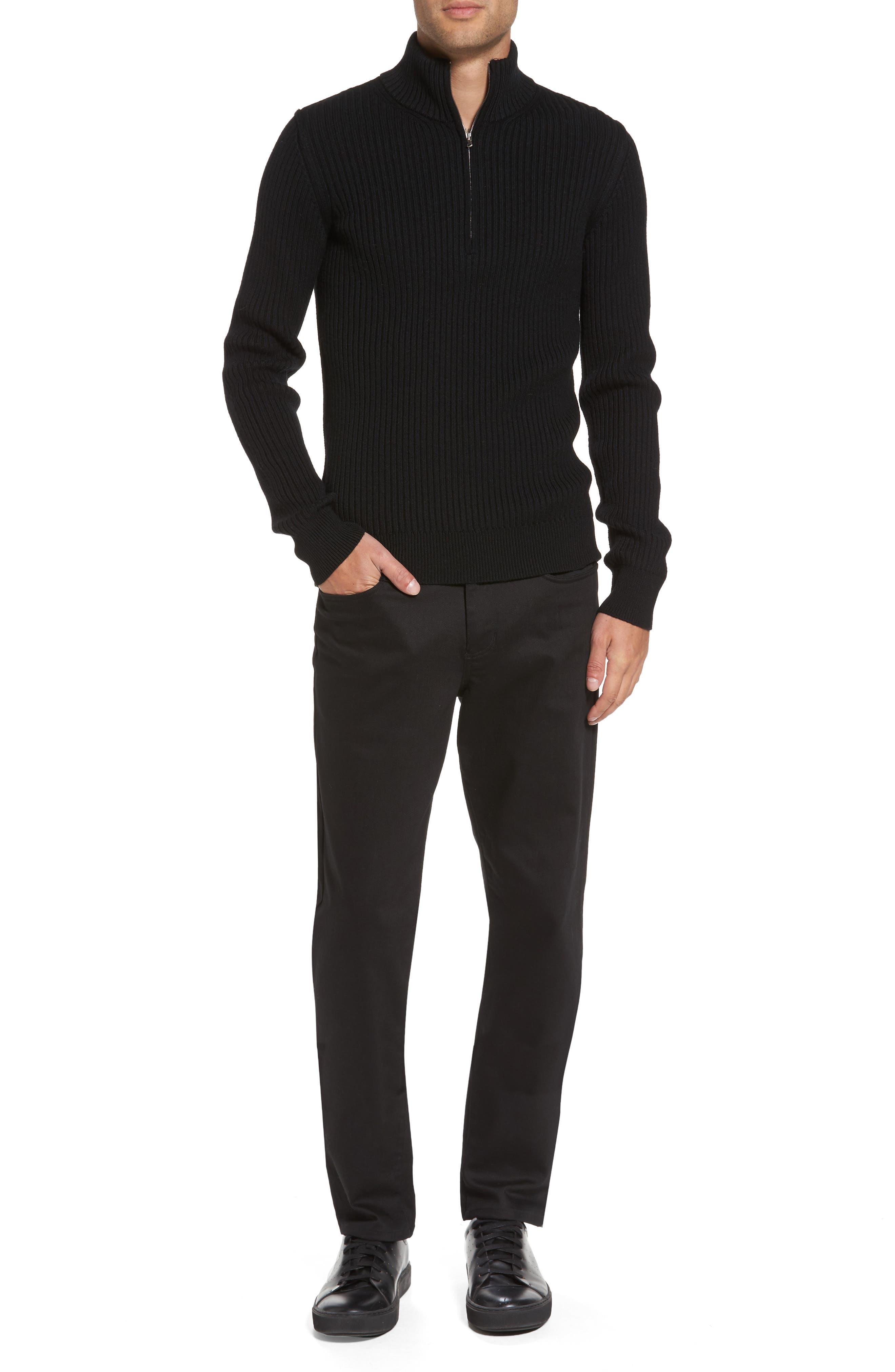 Ribbed Quarter Zip Mock Neck Sweater,                             Alternate thumbnail 7, color,                             Black
