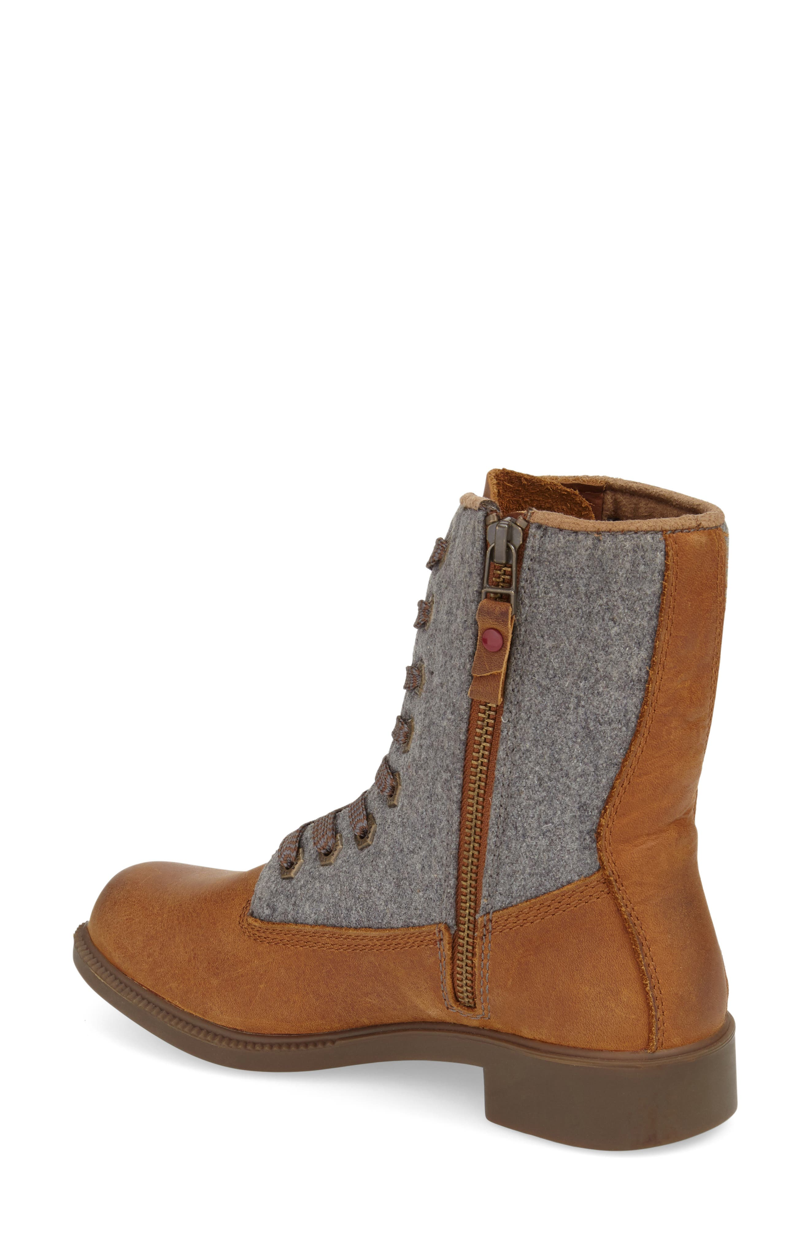 'Addison' Waterproof Insulated Zip Boot,                             Alternate thumbnail 2, color,                             Caramel/ Grey Leather