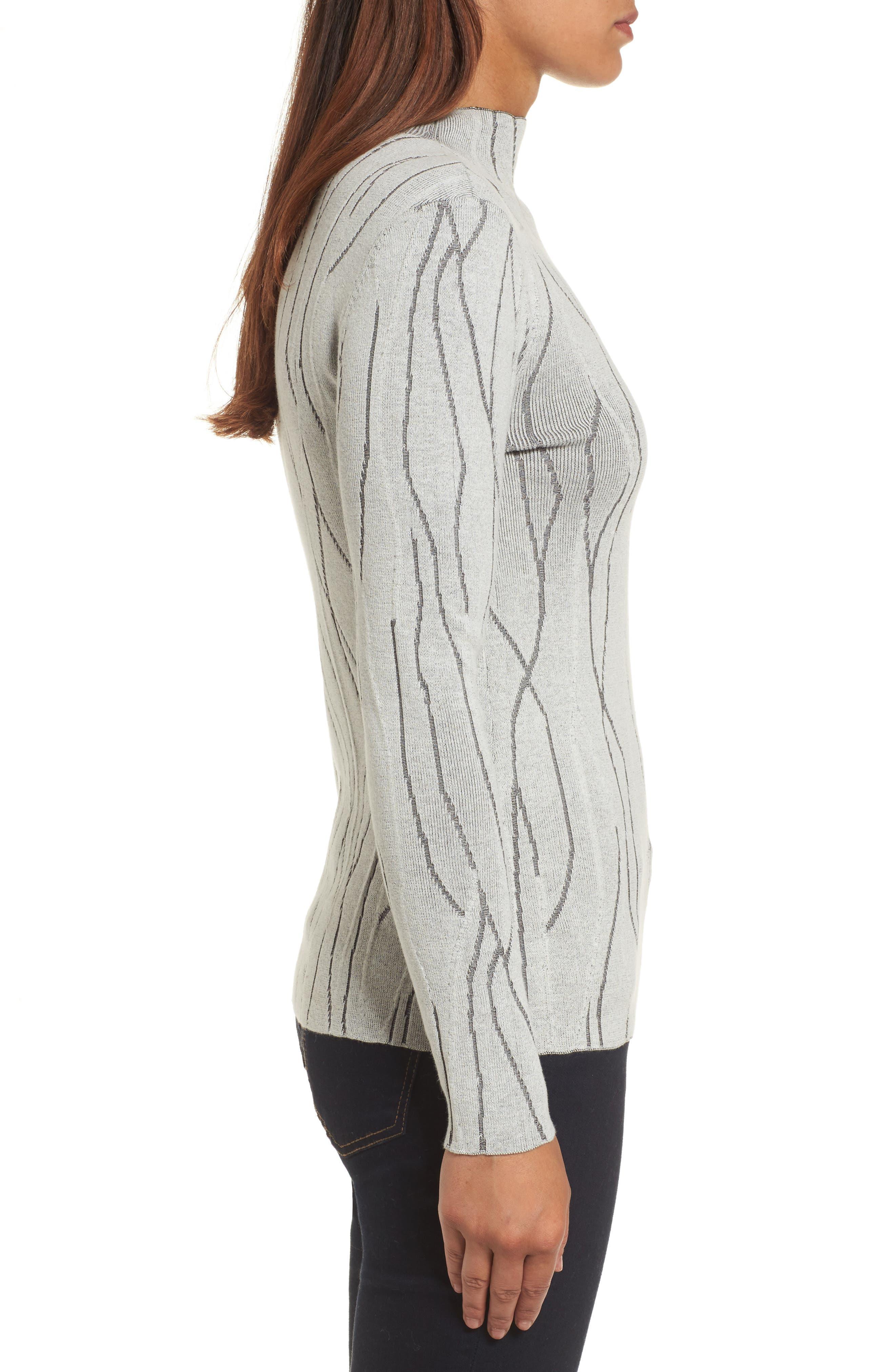 Artisanal Crackle Jacquard Sweater,                             Alternate thumbnail 3, color,                             Chalk