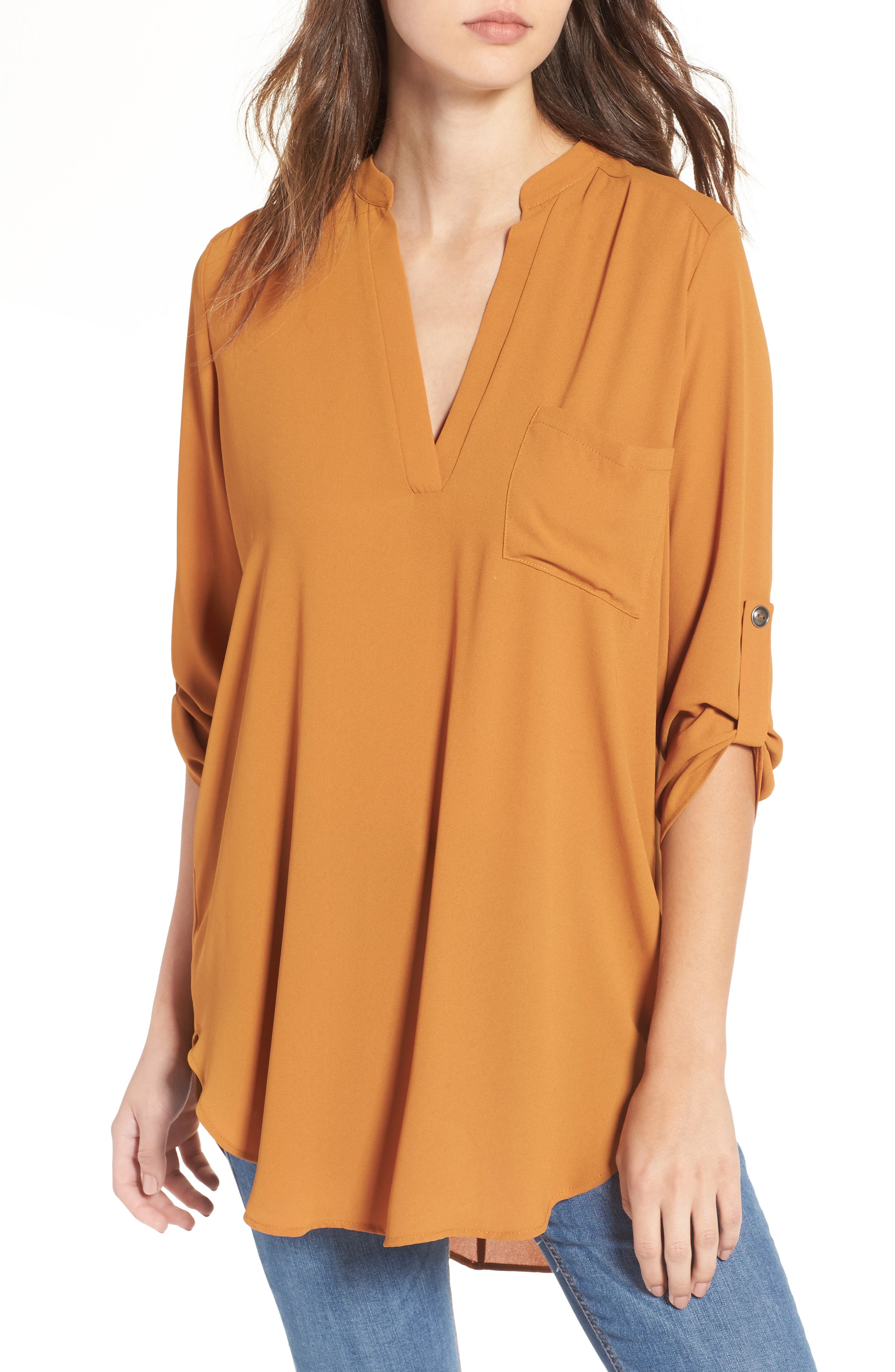 Alternate Image 1 Selected - Lush Perfect Roll Tab Sleeve Tunic