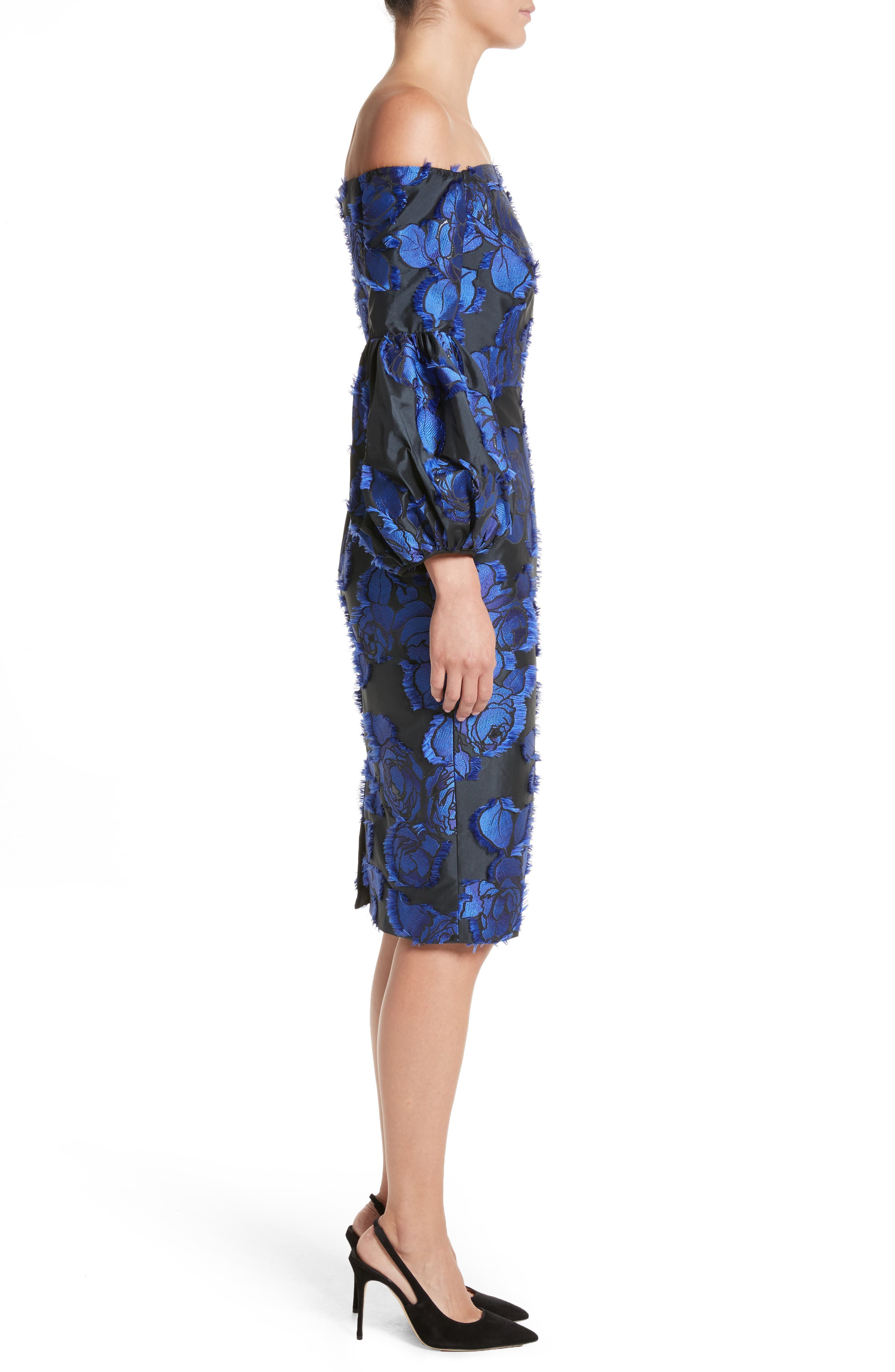Fring Brocade Puff Sleeve Dress,                             Alternate thumbnail 6, color,                             Black/ Lapis