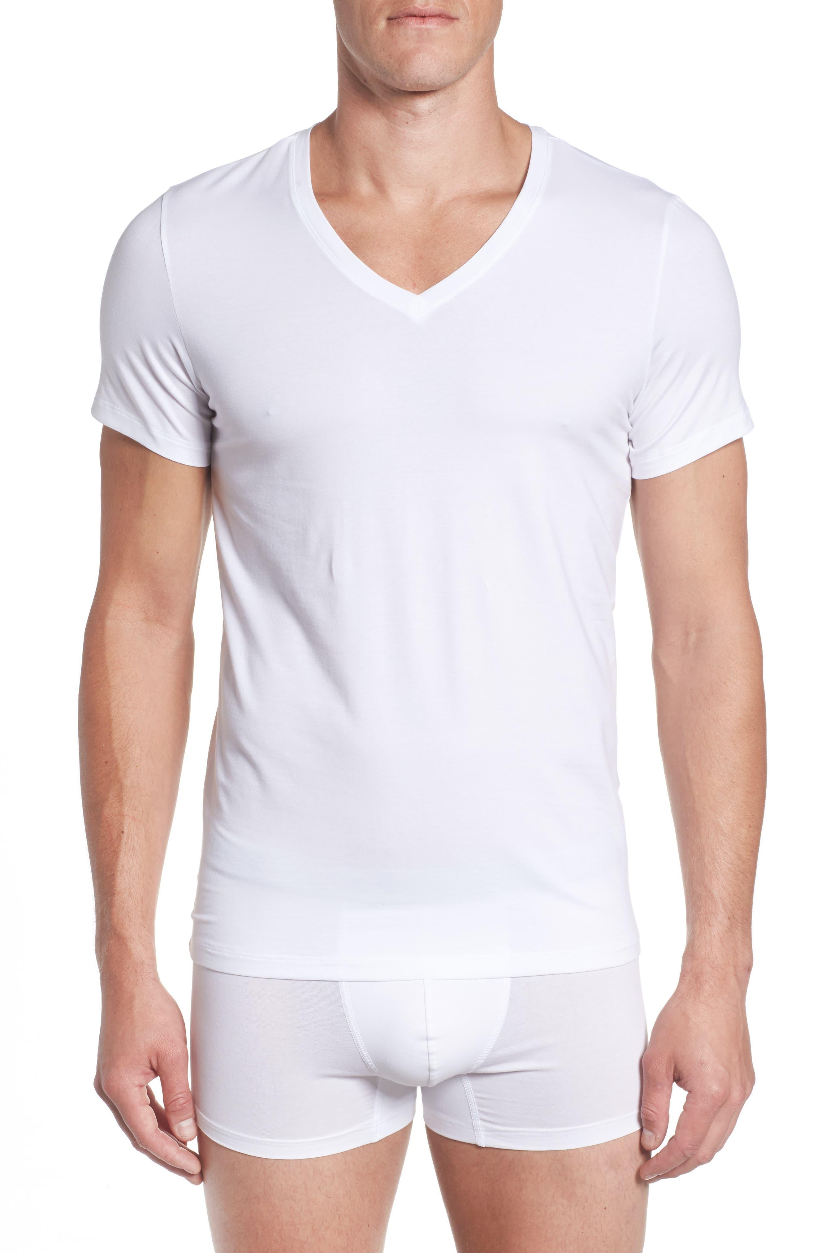 Cotton Superior V-Neck T-Shirt,                         Main,                         color, White
