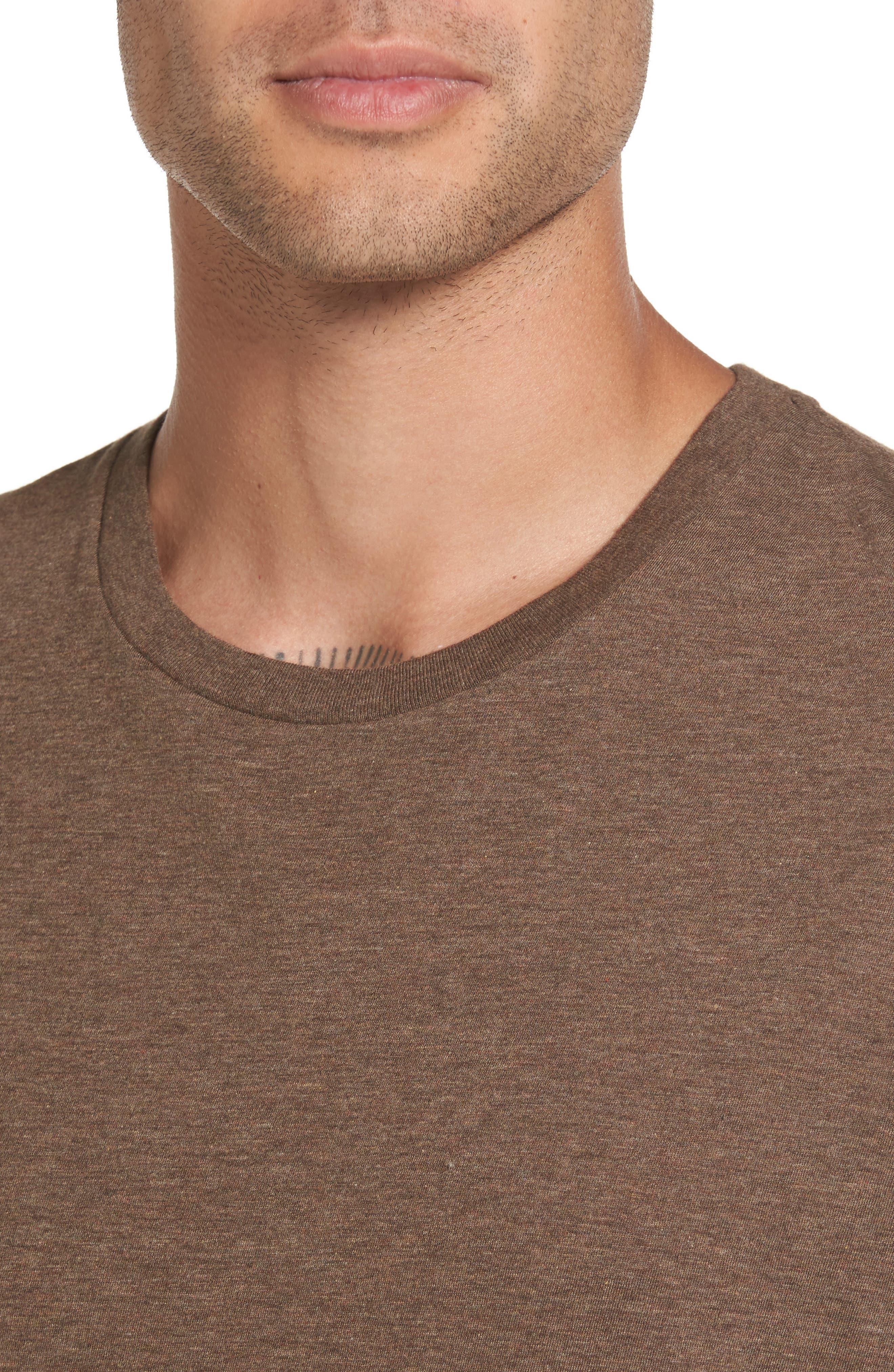 Regular Fit Crewneck T-Shirt,                             Alternate thumbnail 4, color,                             Bark