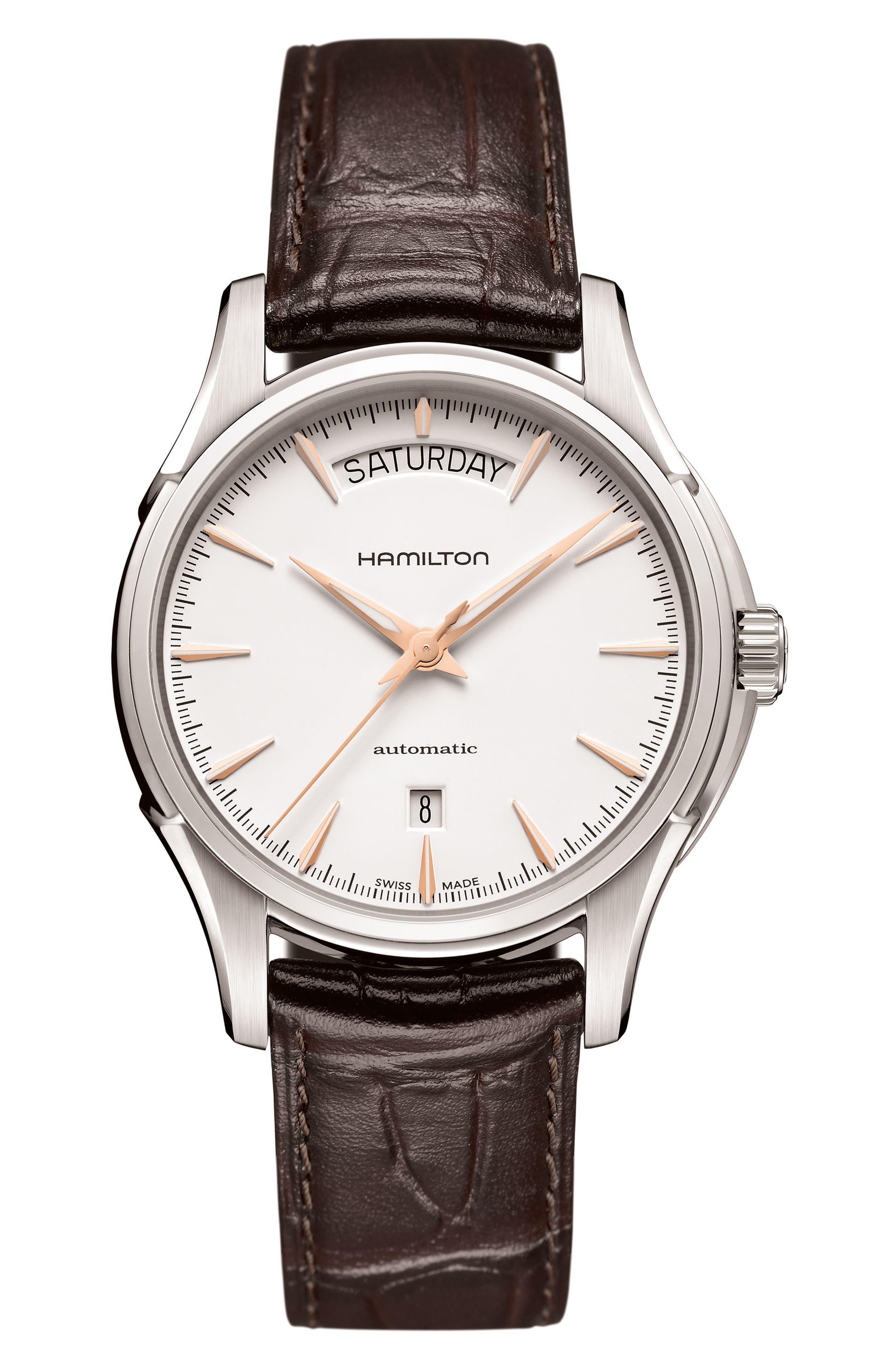 Main Image - Hamilton Jazzmaster Automatic Leather Strap Watch, 40mm