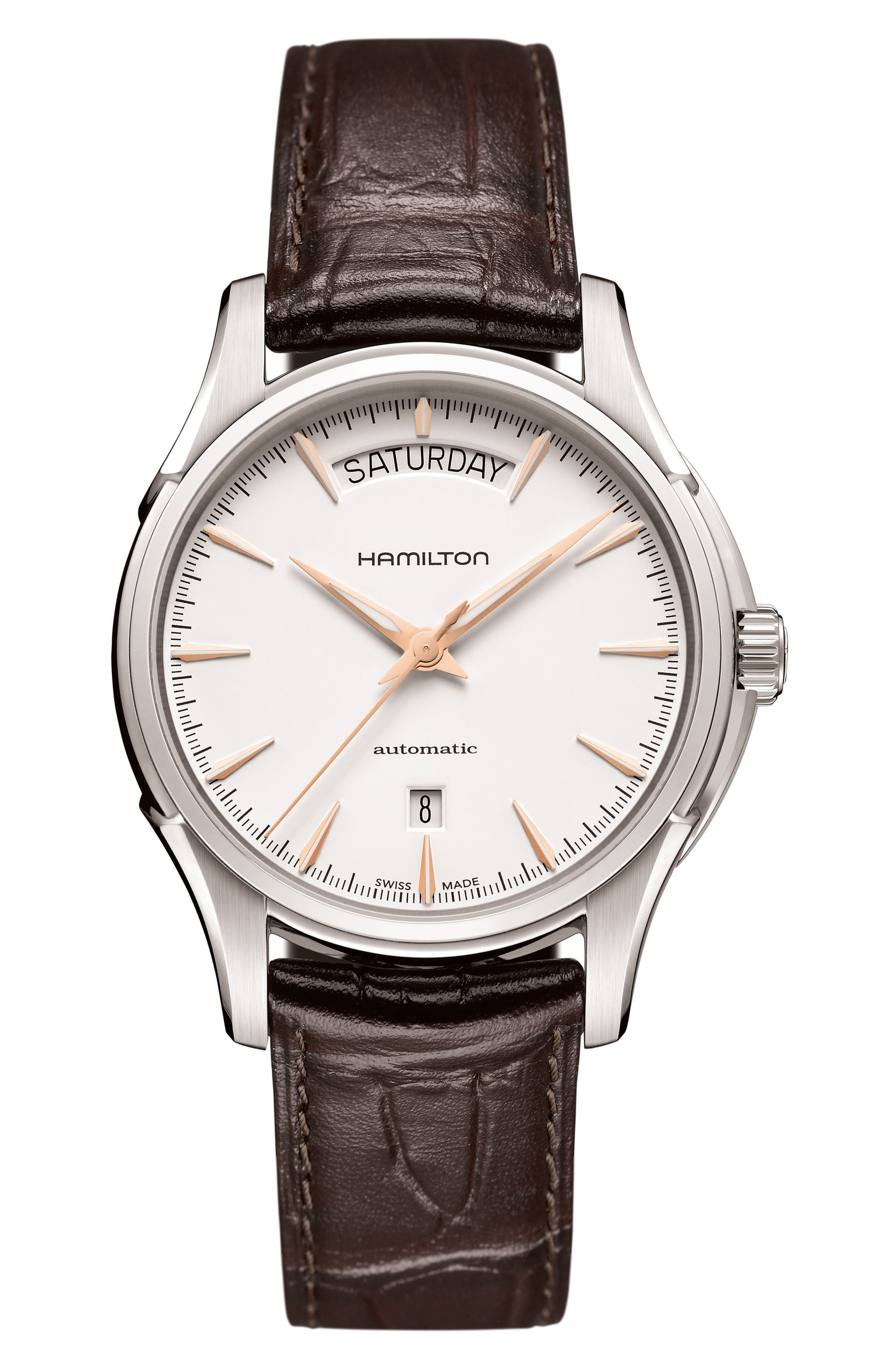 Jazzmaster Automatic Leather Strap Watch, 40mm,                         Main,                         color, Brown/ White/ Silver