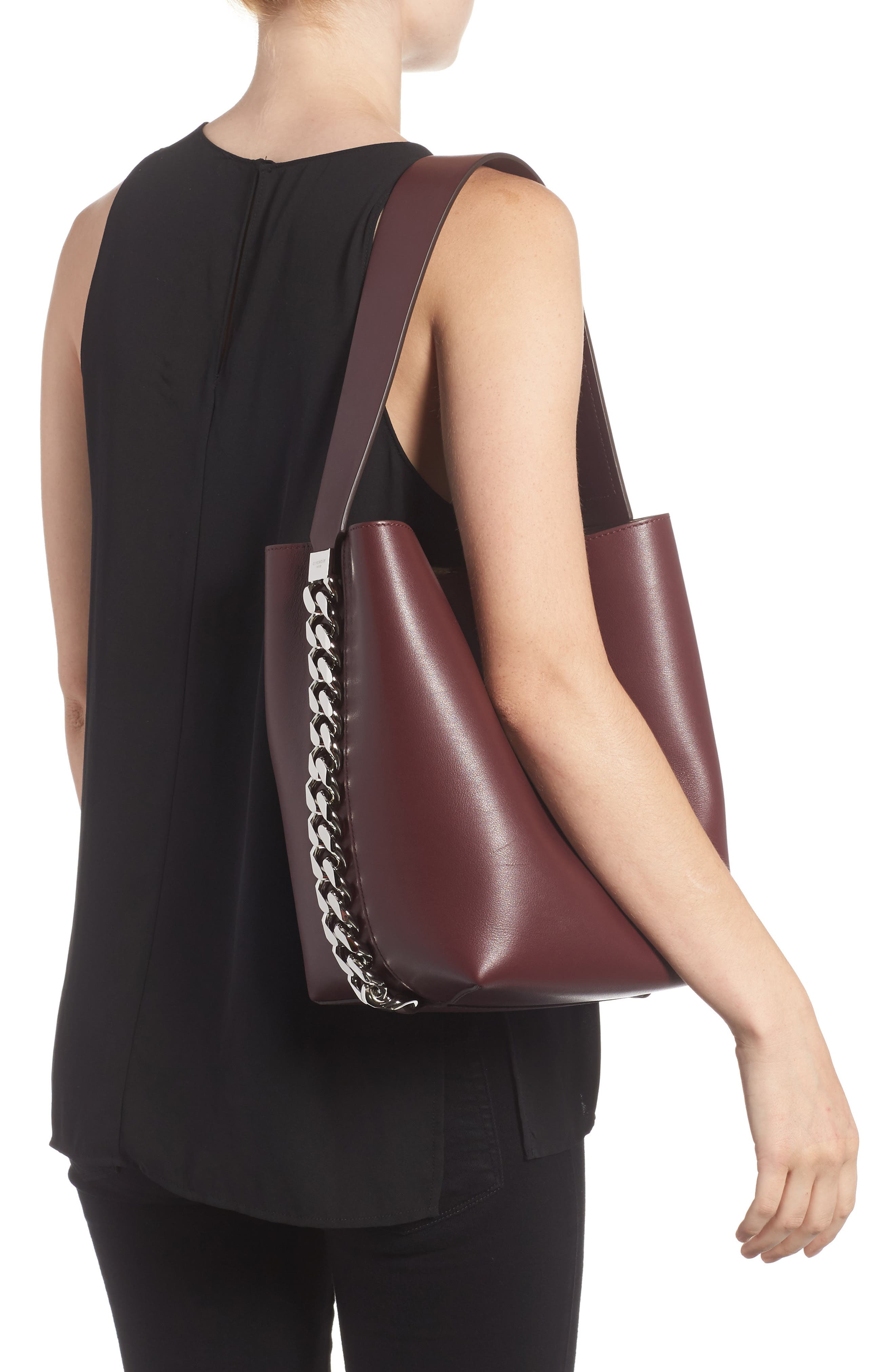 Infinity Calfskin Leather Bucket Bag,                             Alternate thumbnail 2, color,                             Oxblood