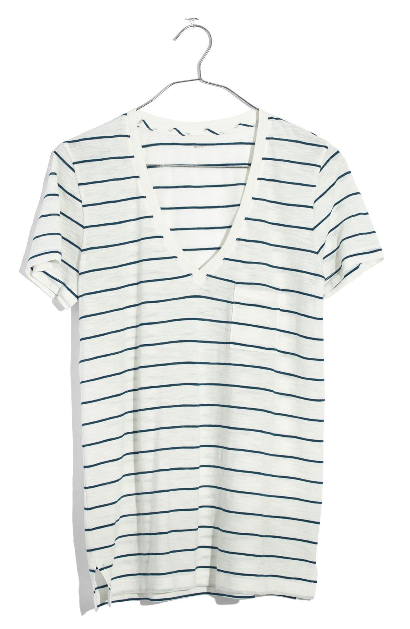 Alternate Image 1 Selected - Madewell Whisper Cotton Stripe V-Neck Pocket Tee