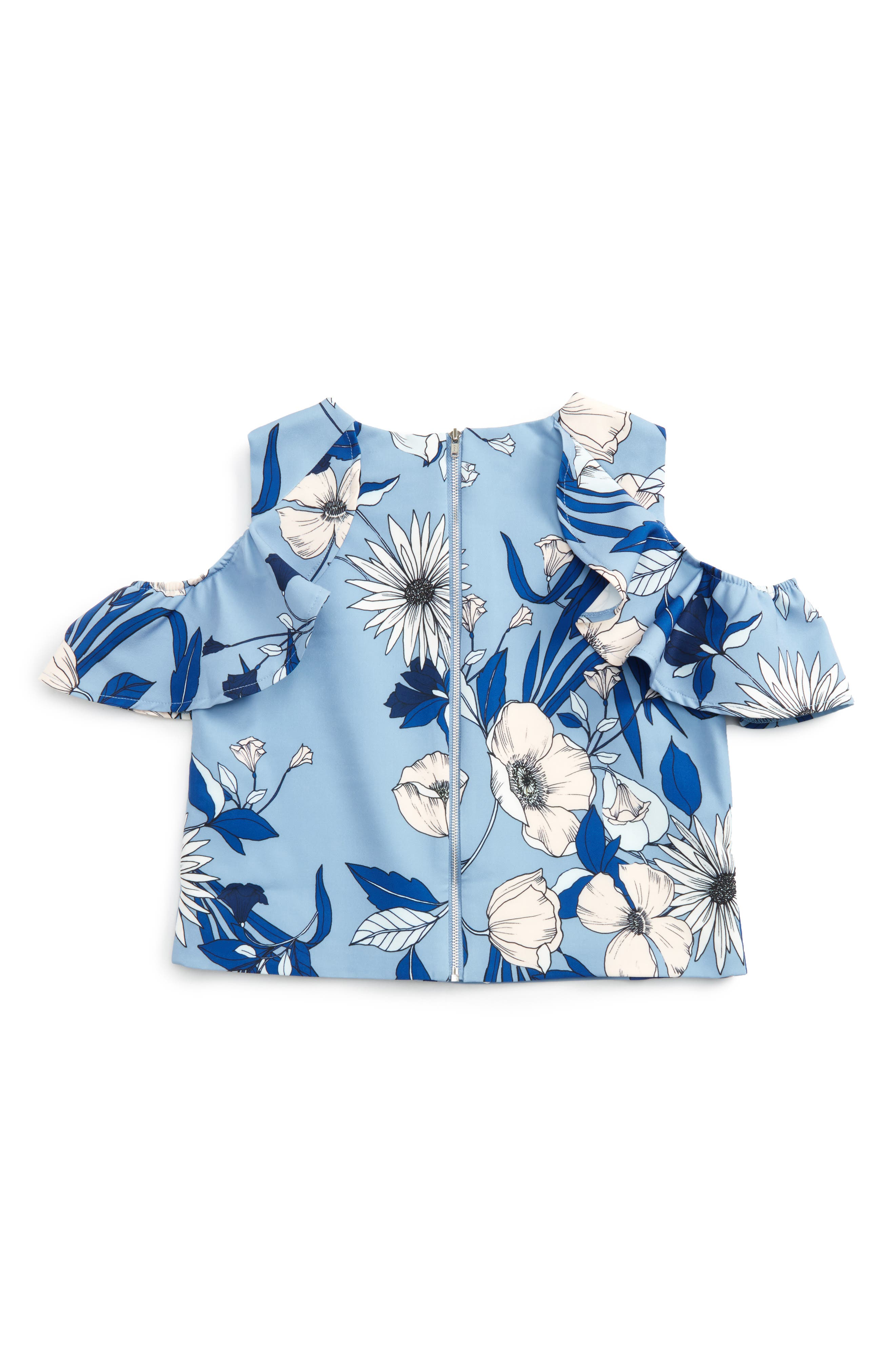 Maia Ruffle Cold Shoulder Top,                             Alternate thumbnail 2, color,                             Botanica Bloom