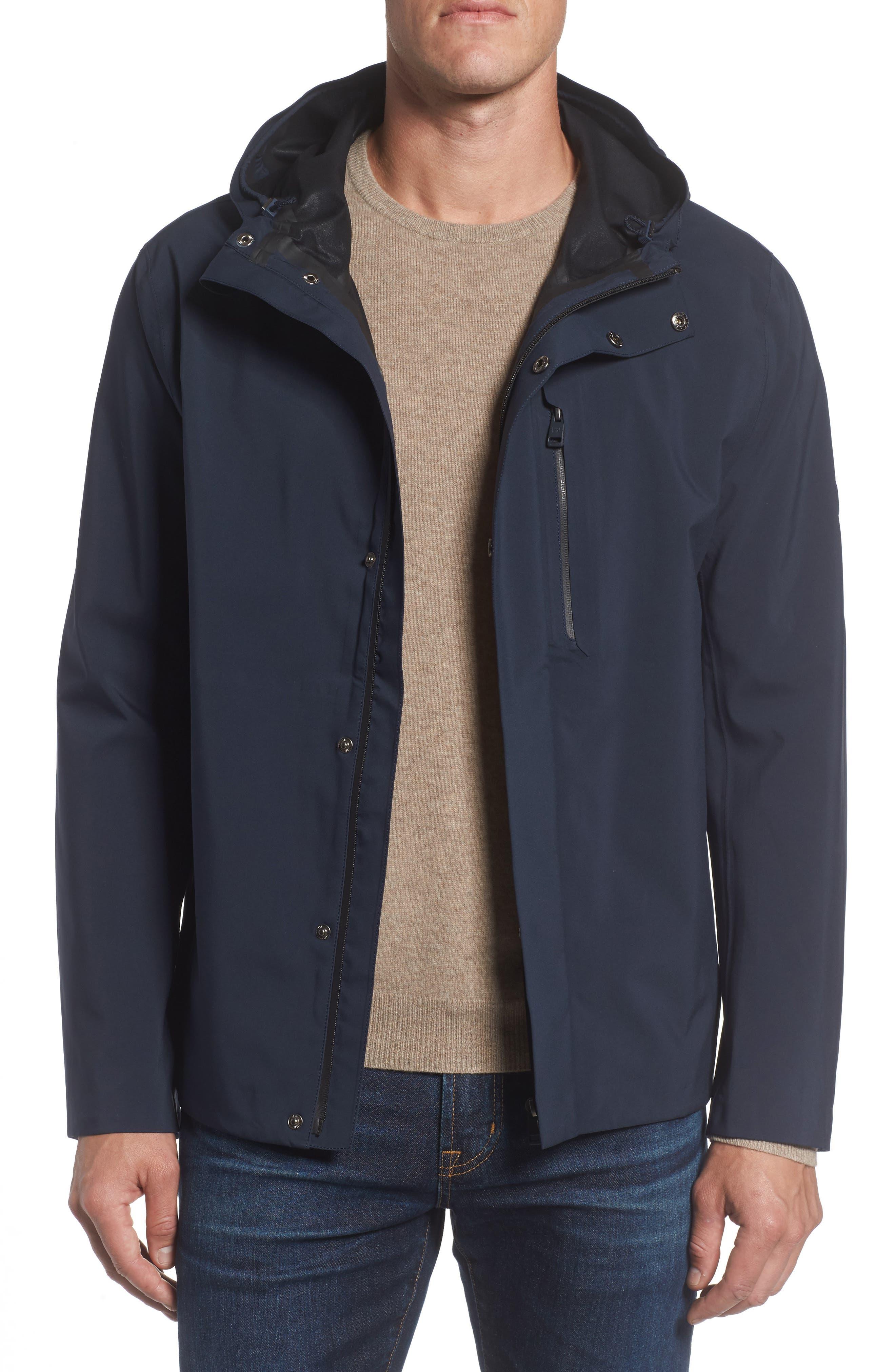 Marc New York Stratus Waterproof Hooded Rain Jacket,                         Main,                         color, Ink