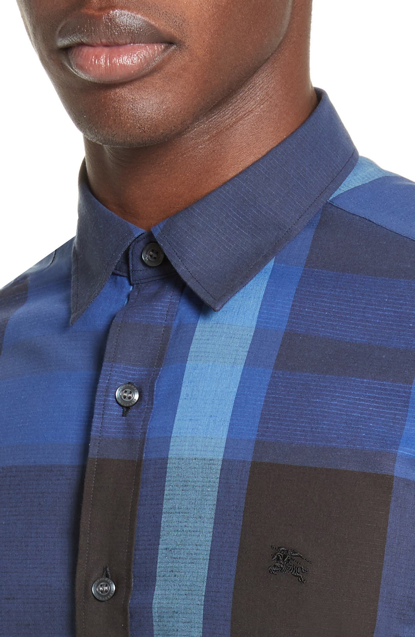 Alternate Image 4  - Burberry Coatson Check Slim Fit Cotton & Linen Sport Shirt