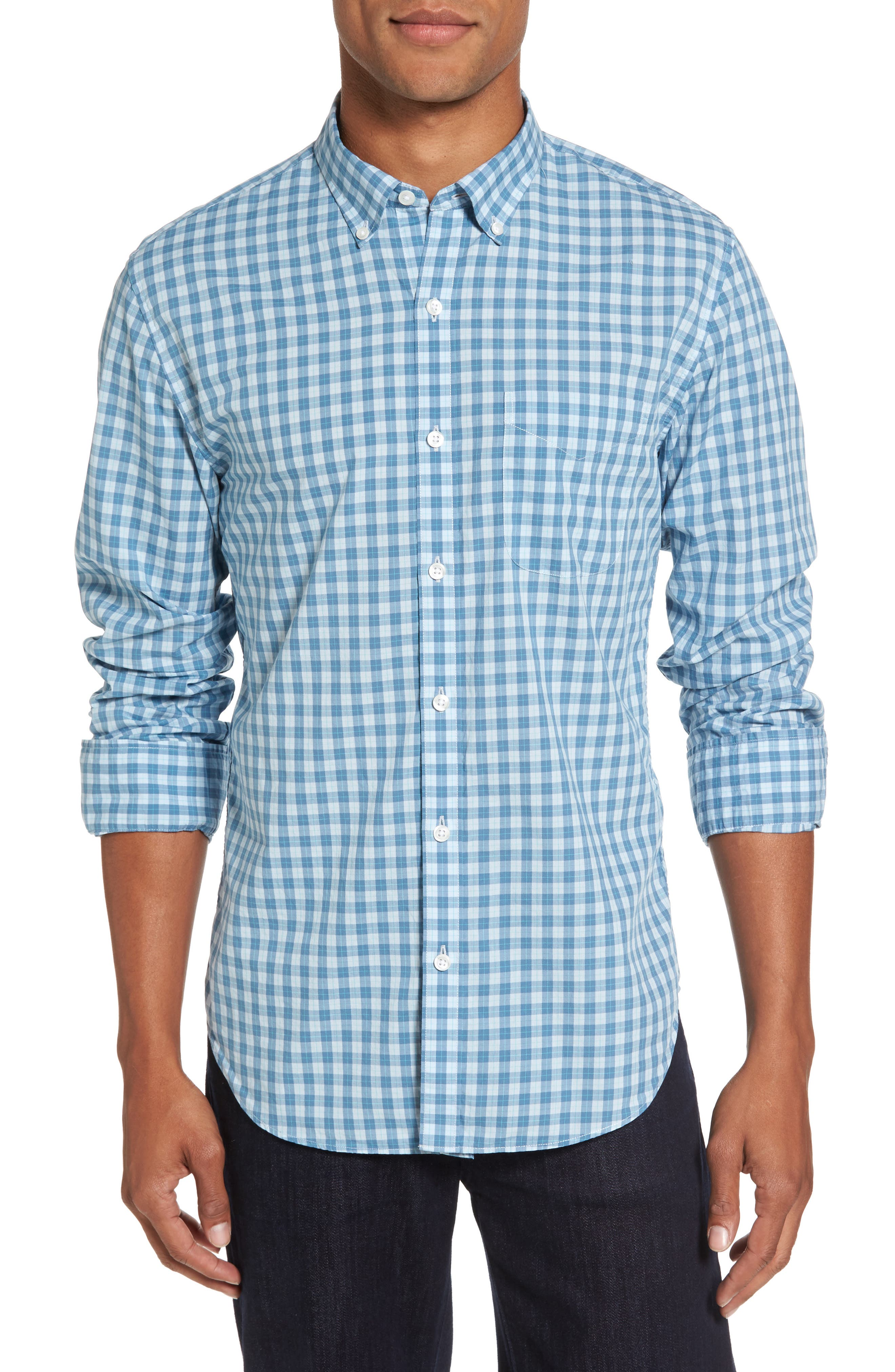 Summerweight Slim Fit Check Sport Shirt,                         Main,                         color, Airway Check