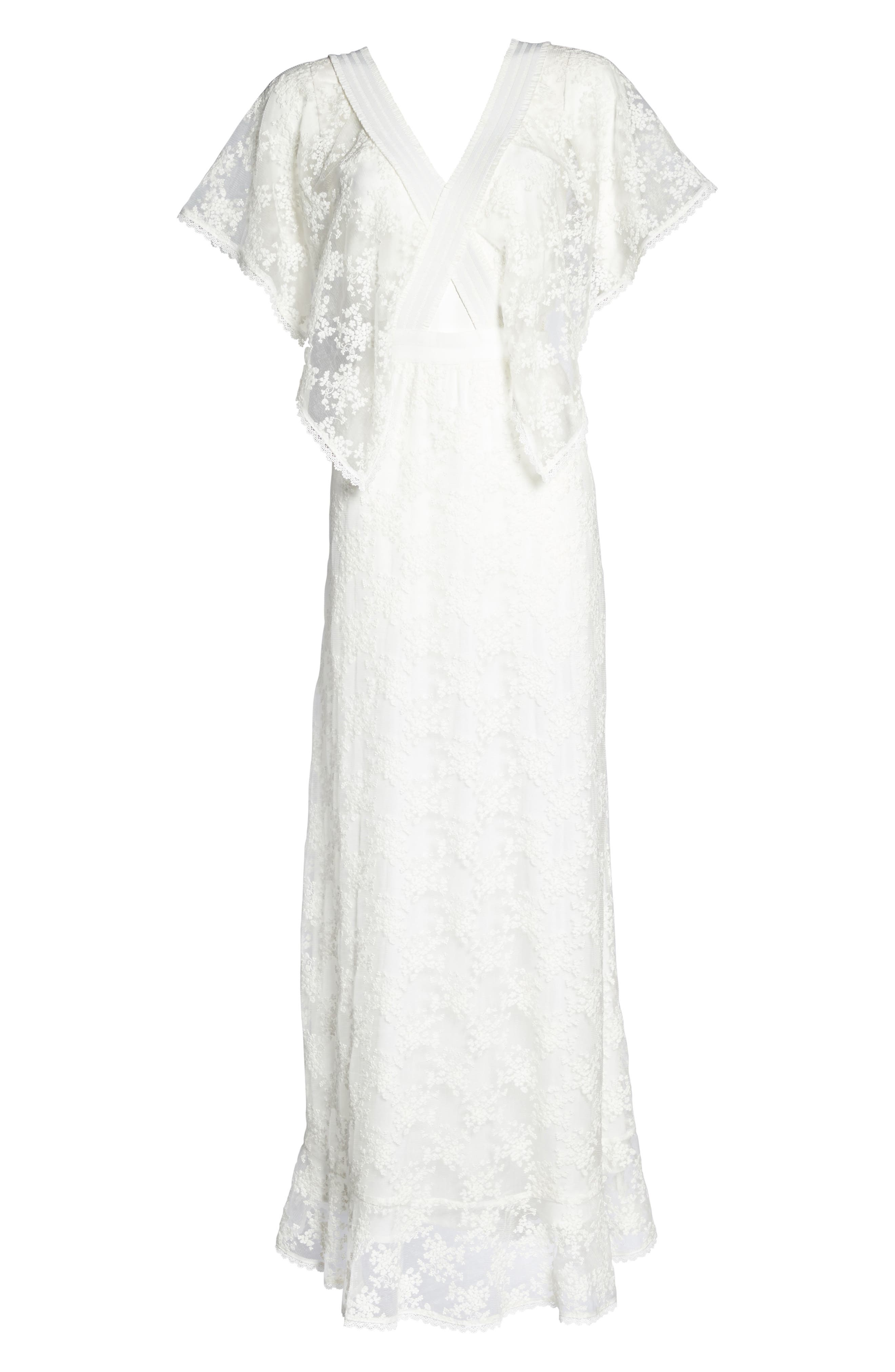 August Handkerchief Sleeve Embroidered Long Dress,                             Alternate thumbnail 6, color,                             Ivory