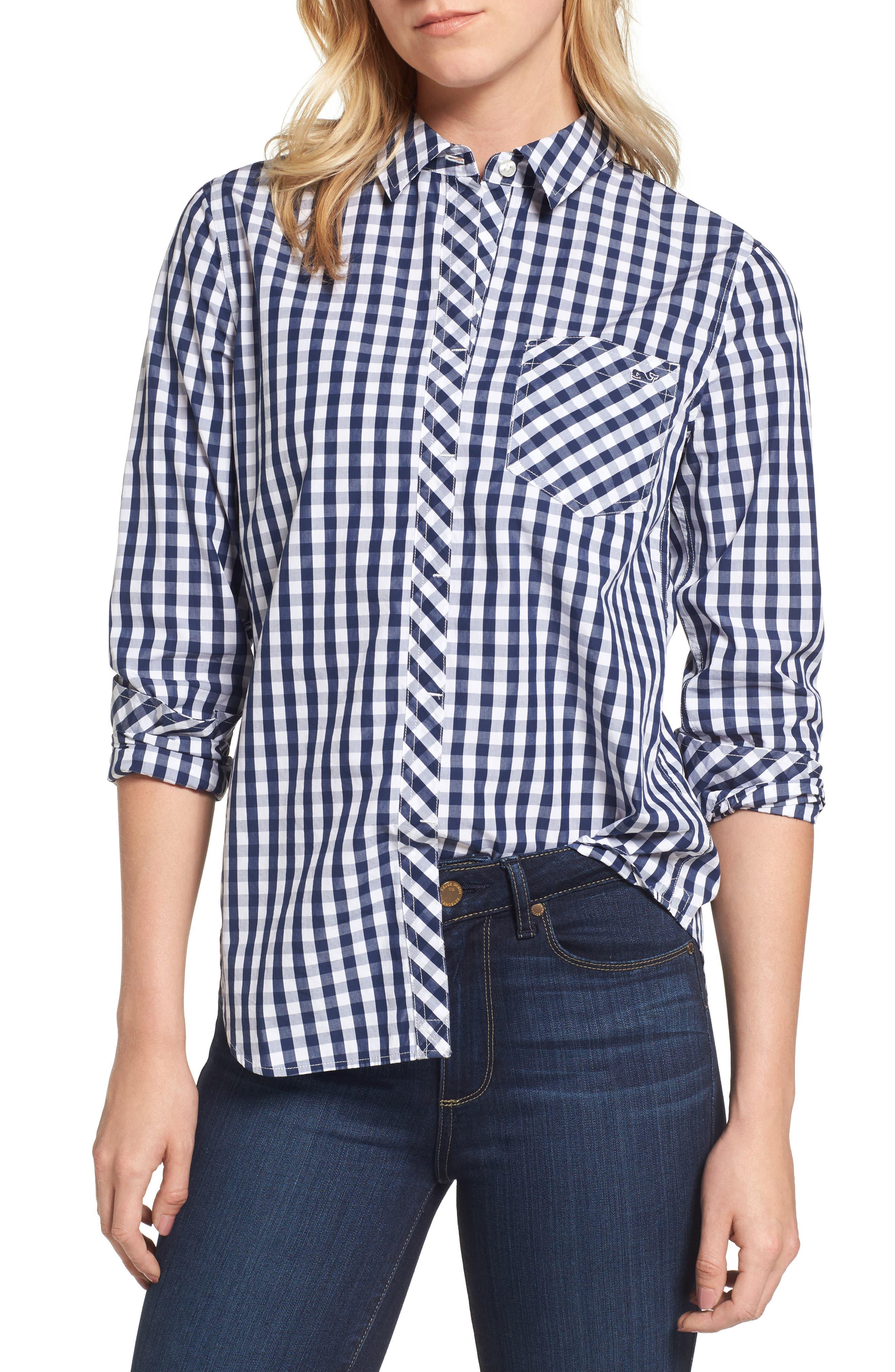 Seabreeze Gingham Pocket Shirt,                         Main,                         color, Deep Bay