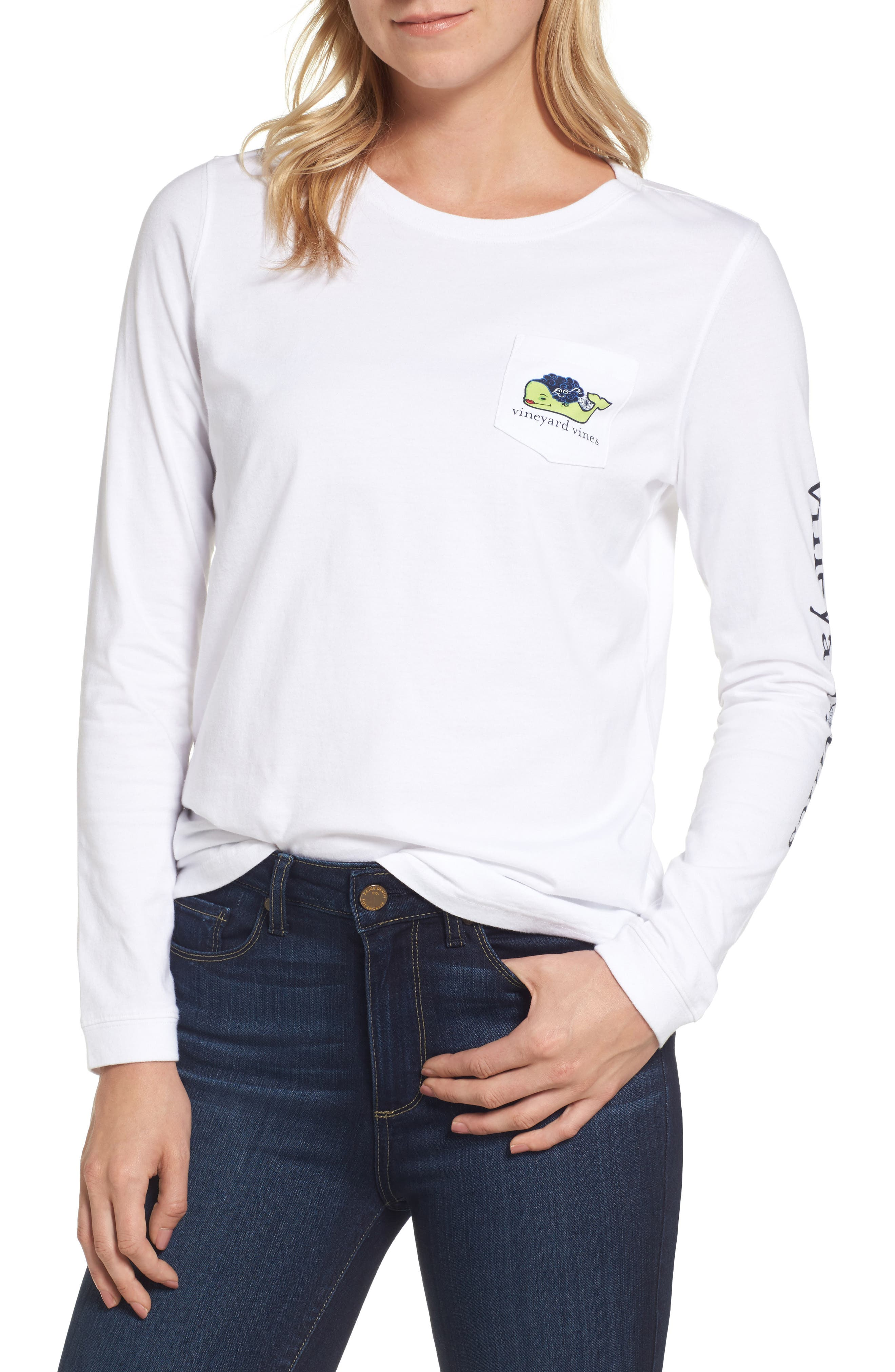 Bride of Frank Whale Pocket Tee,                         Main,                         color, White Cap