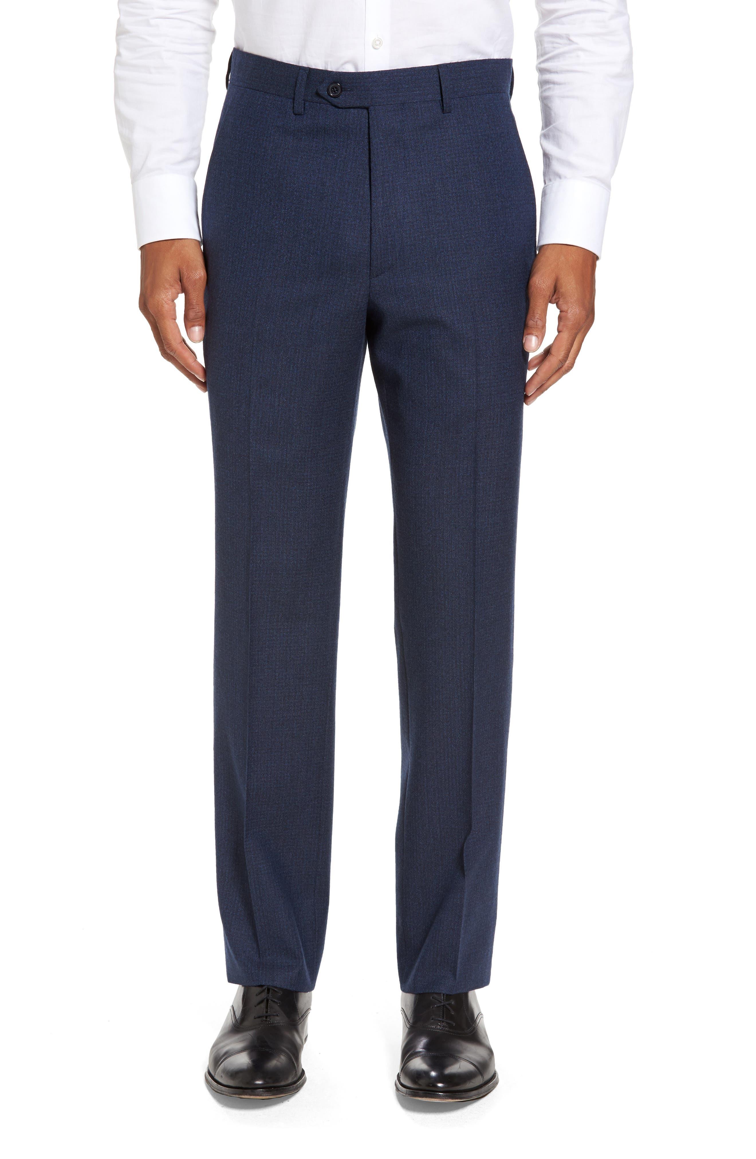 Alternate Image 1 Selected - Santorelli Romero Regular Fit Flat Front Trousers