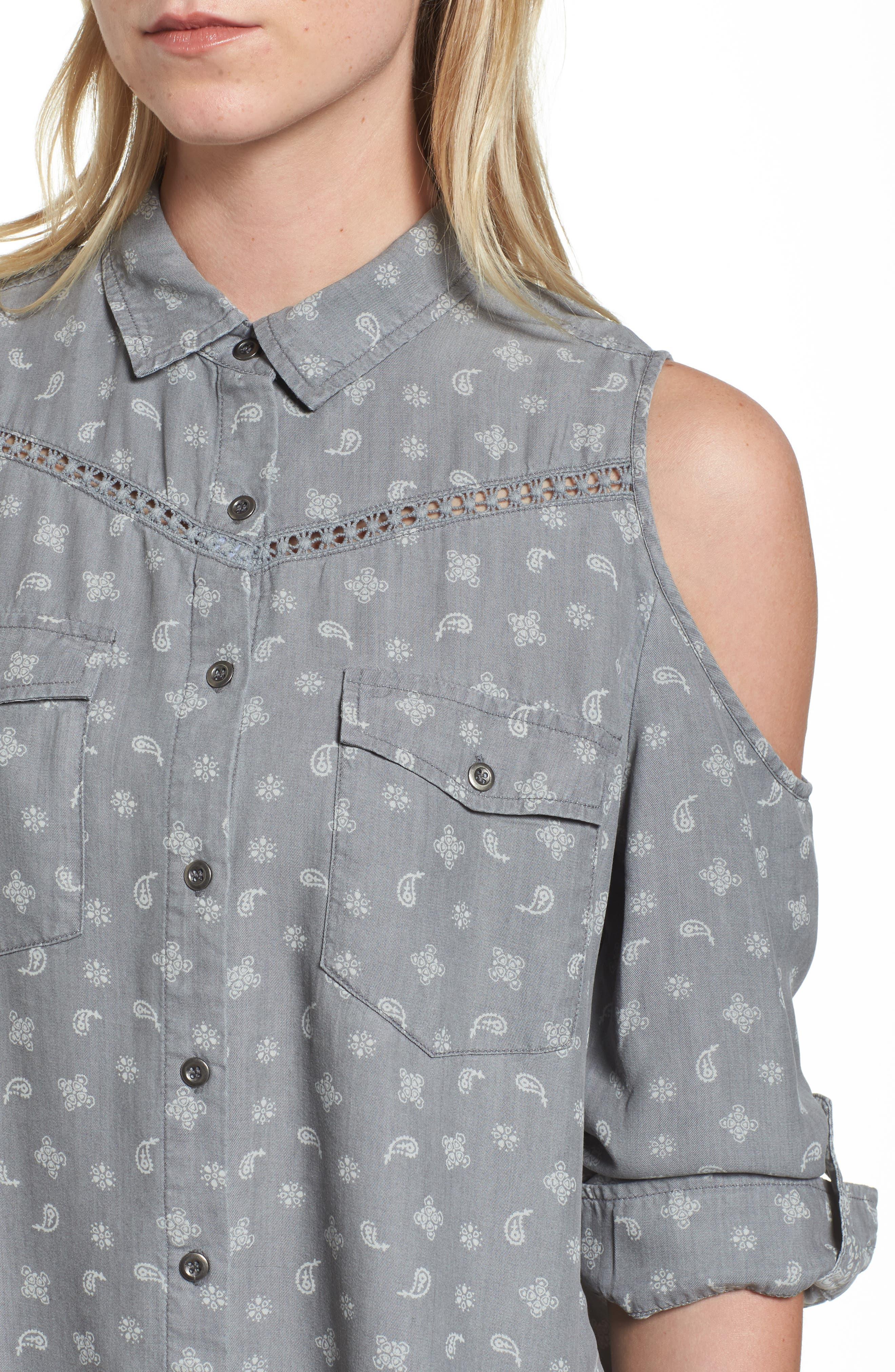 Cold Shoulder Paisley Shirt,                             Alternate thumbnail 4, color,                             Grey Handkerchief