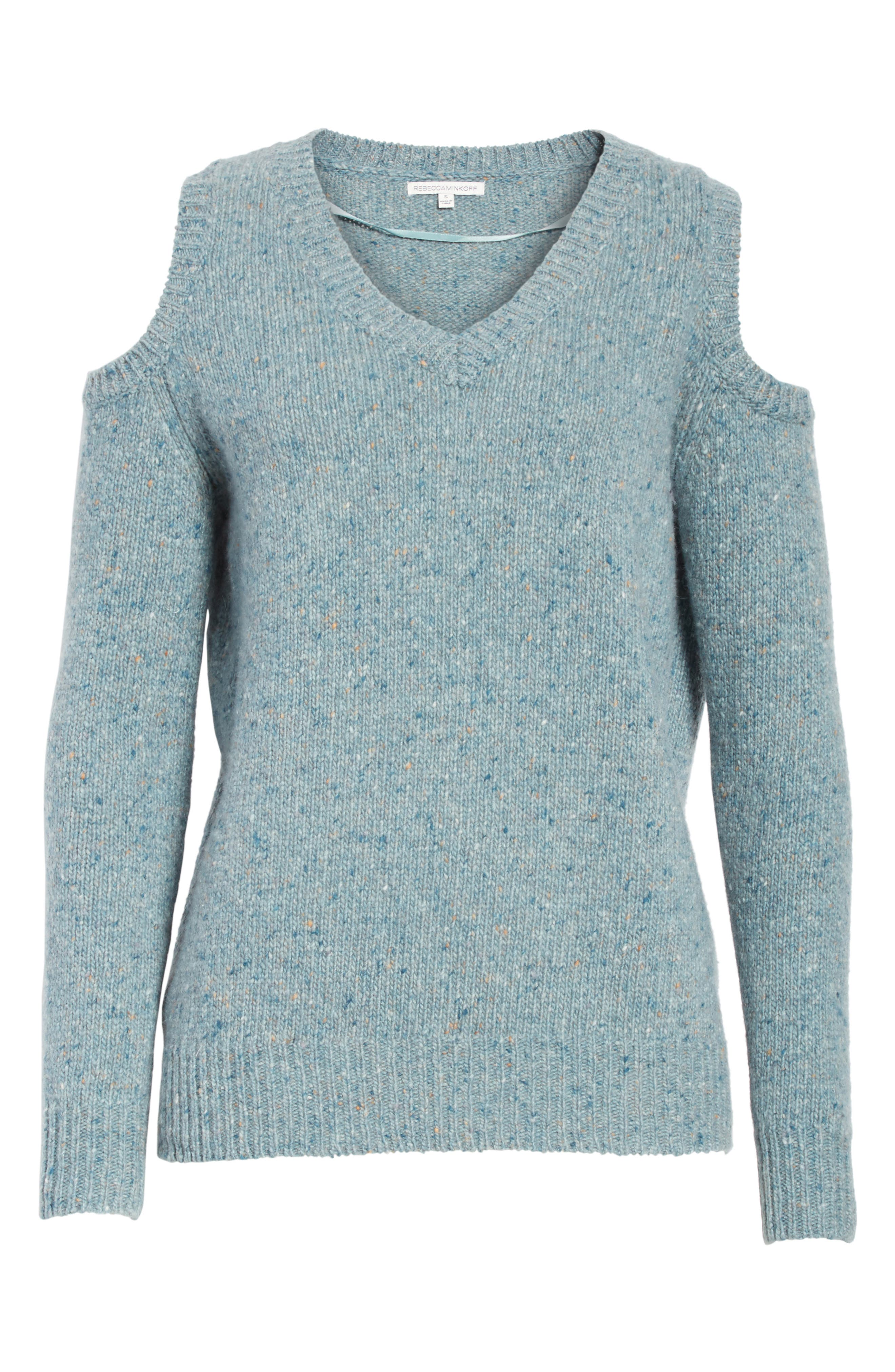 Page Cold Shoulder Sweater,                             Alternate thumbnail 6, color,                             Seamist