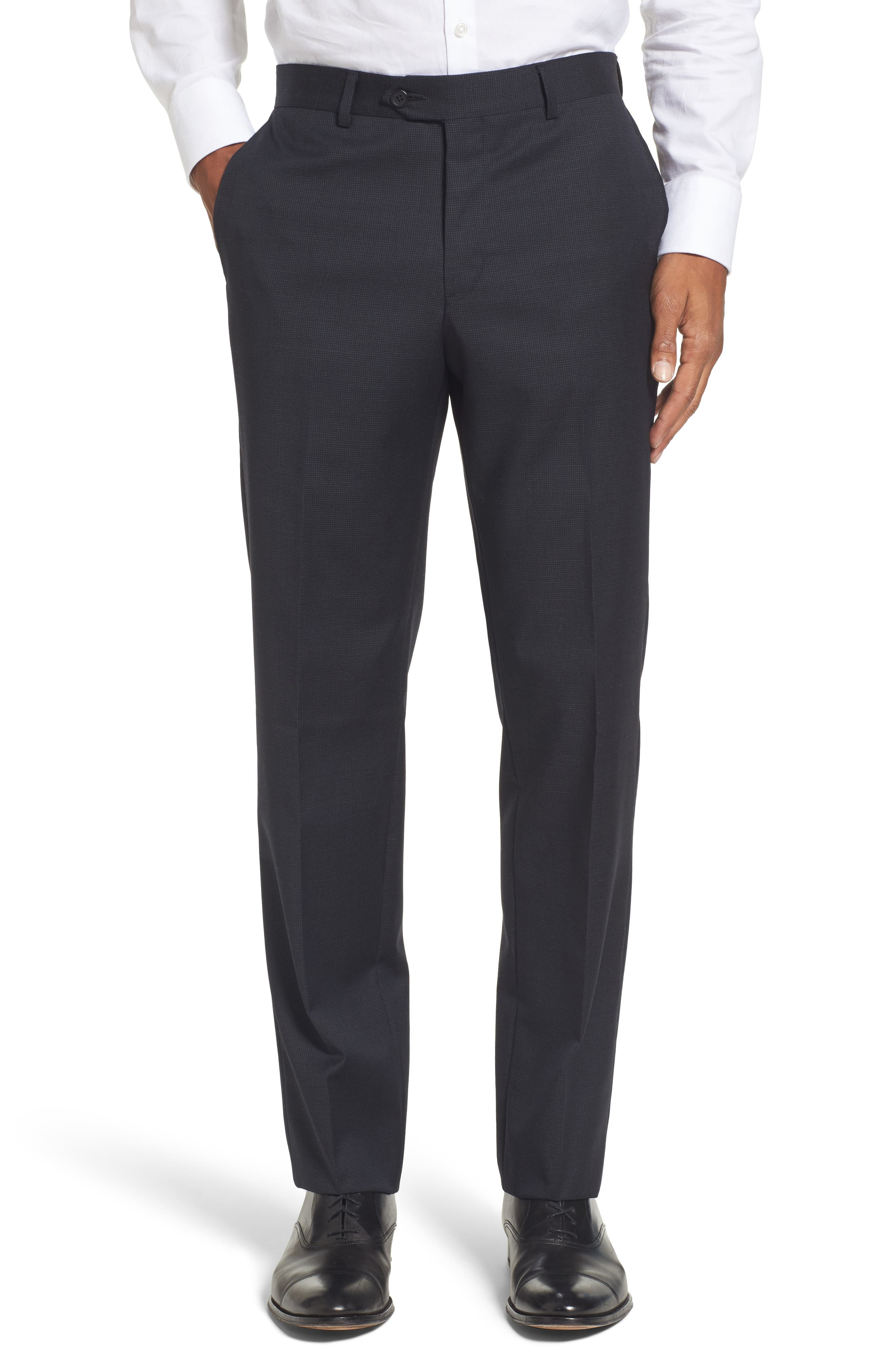 Flat Front Check Wool Trousers,                         Main,                         color, Navy