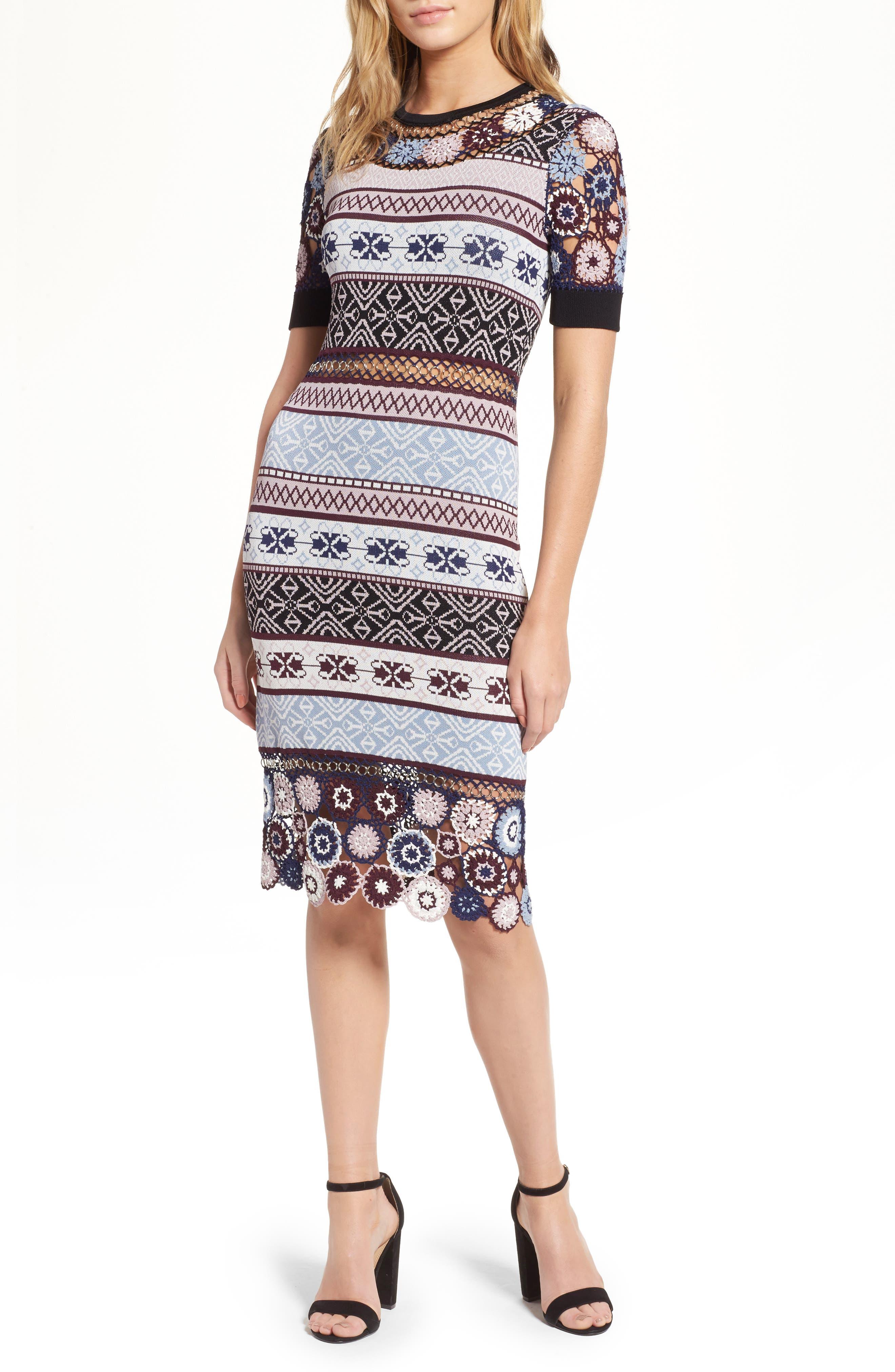 Carol Crochet Pencil Dress,                         Main,                         color, Multi