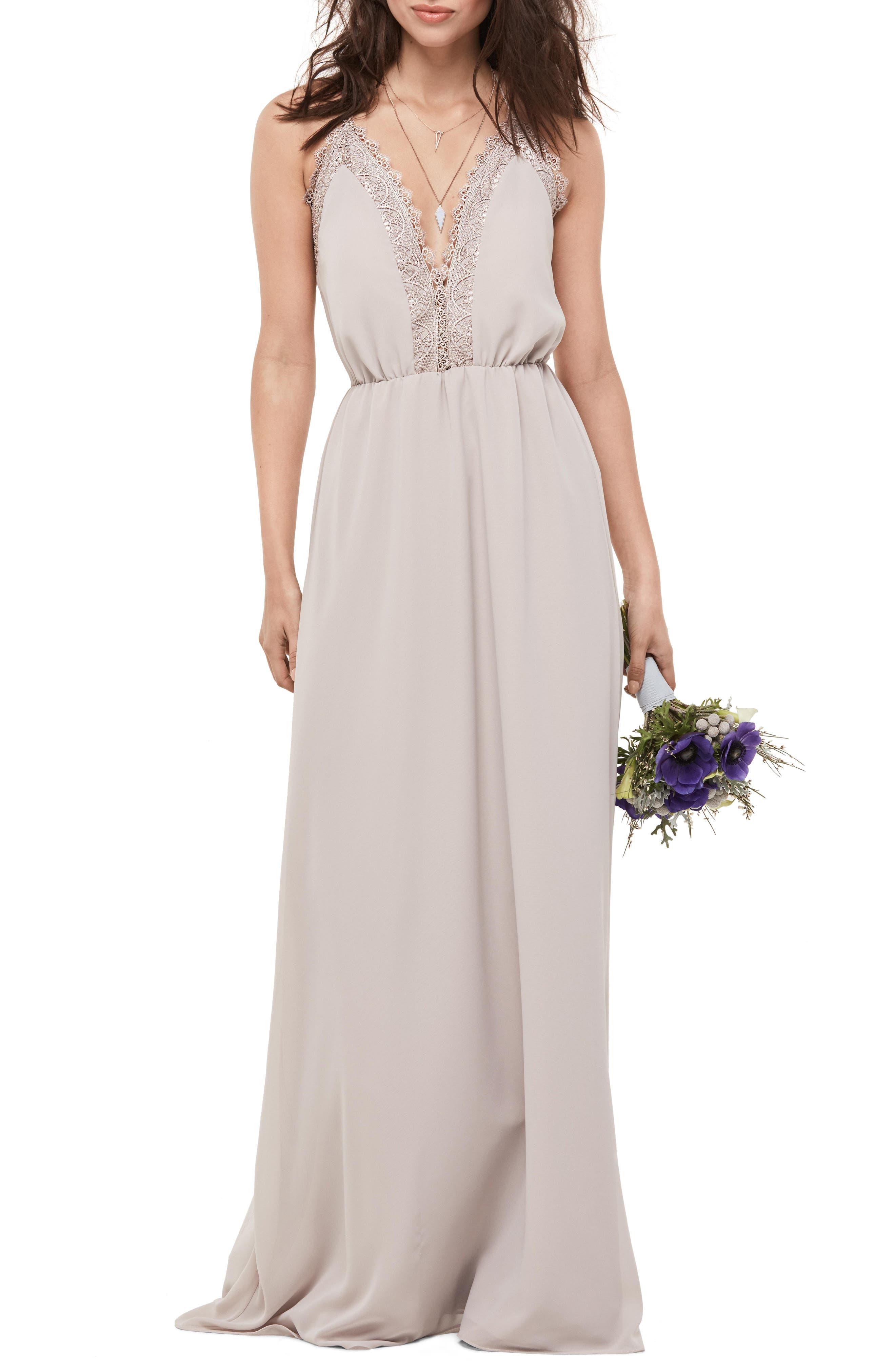Lace Trim Chiffon Halter Gown,                             Main thumbnail 1, color,                             Mocha