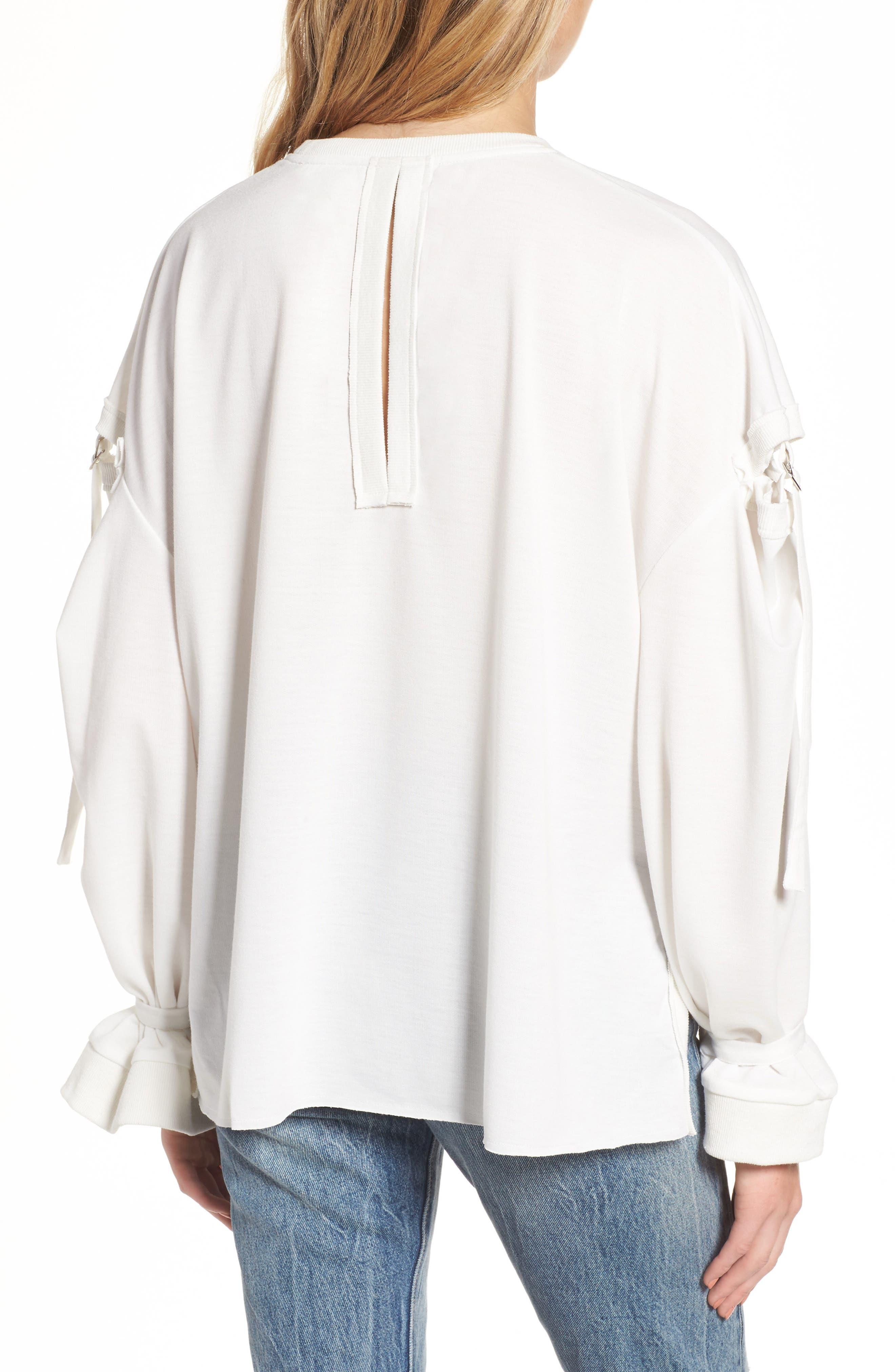 Cutout Detail Sweatshirt,                             Alternate thumbnail 2, color,                             White