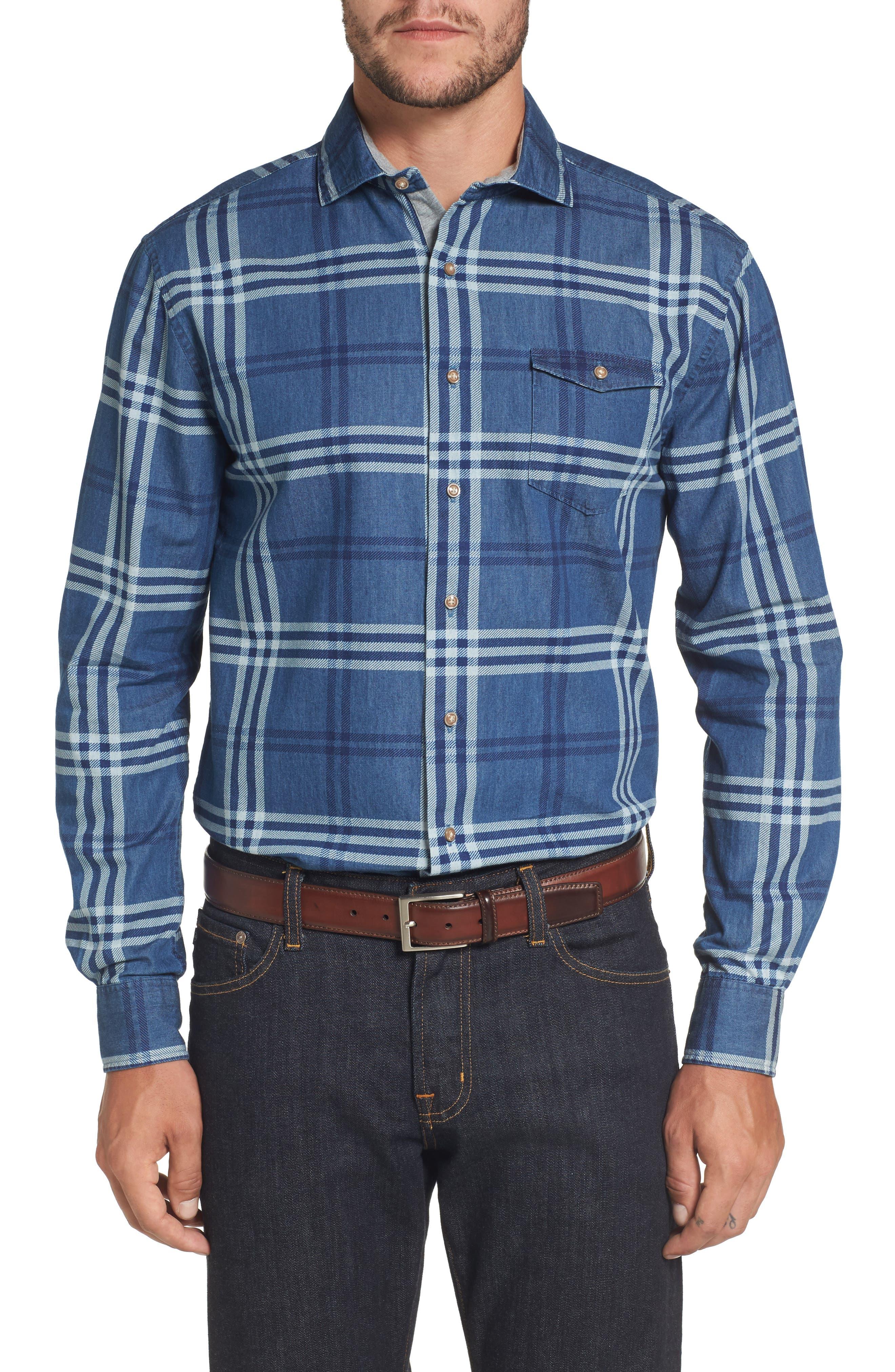 Breckenridge Plaid Sport Shirt,                         Main,                         color, Abyss