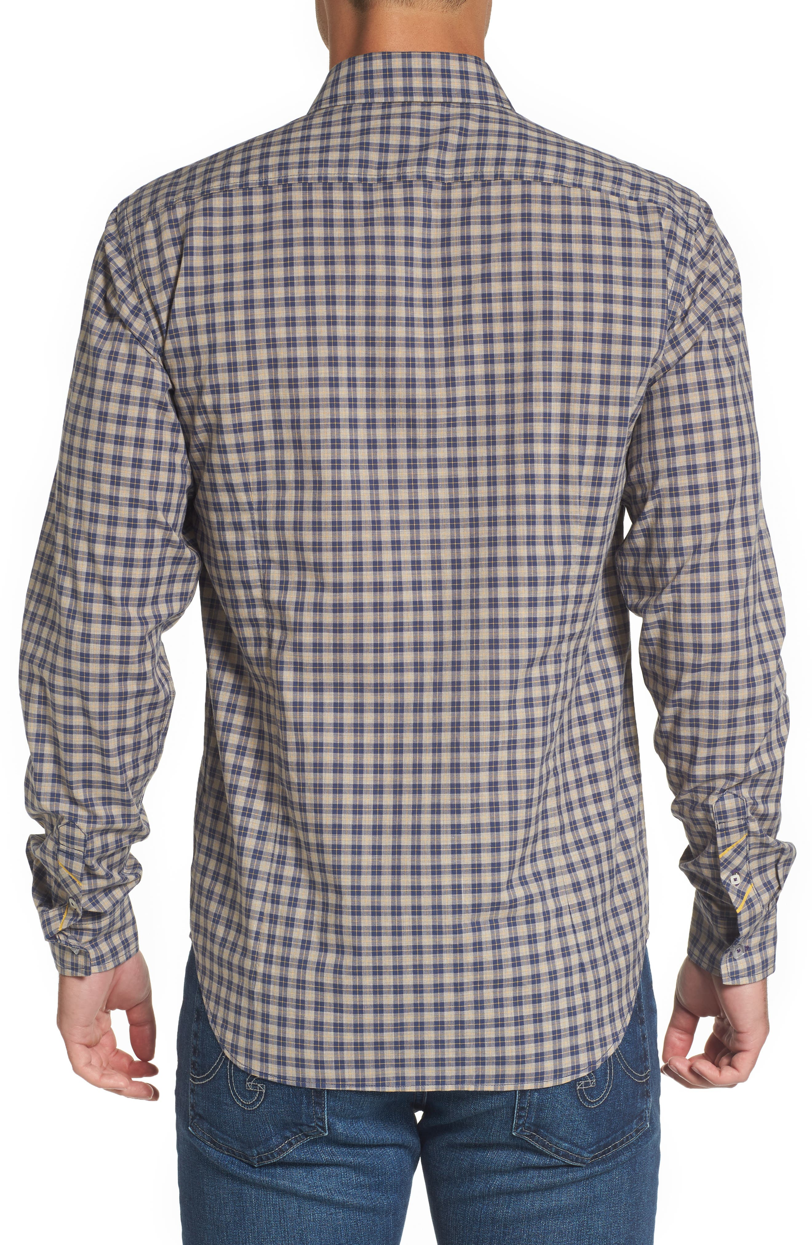 Fitted Plaid Sport Shirt,                             Alternate thumbnail 2, color,                             Open Blue