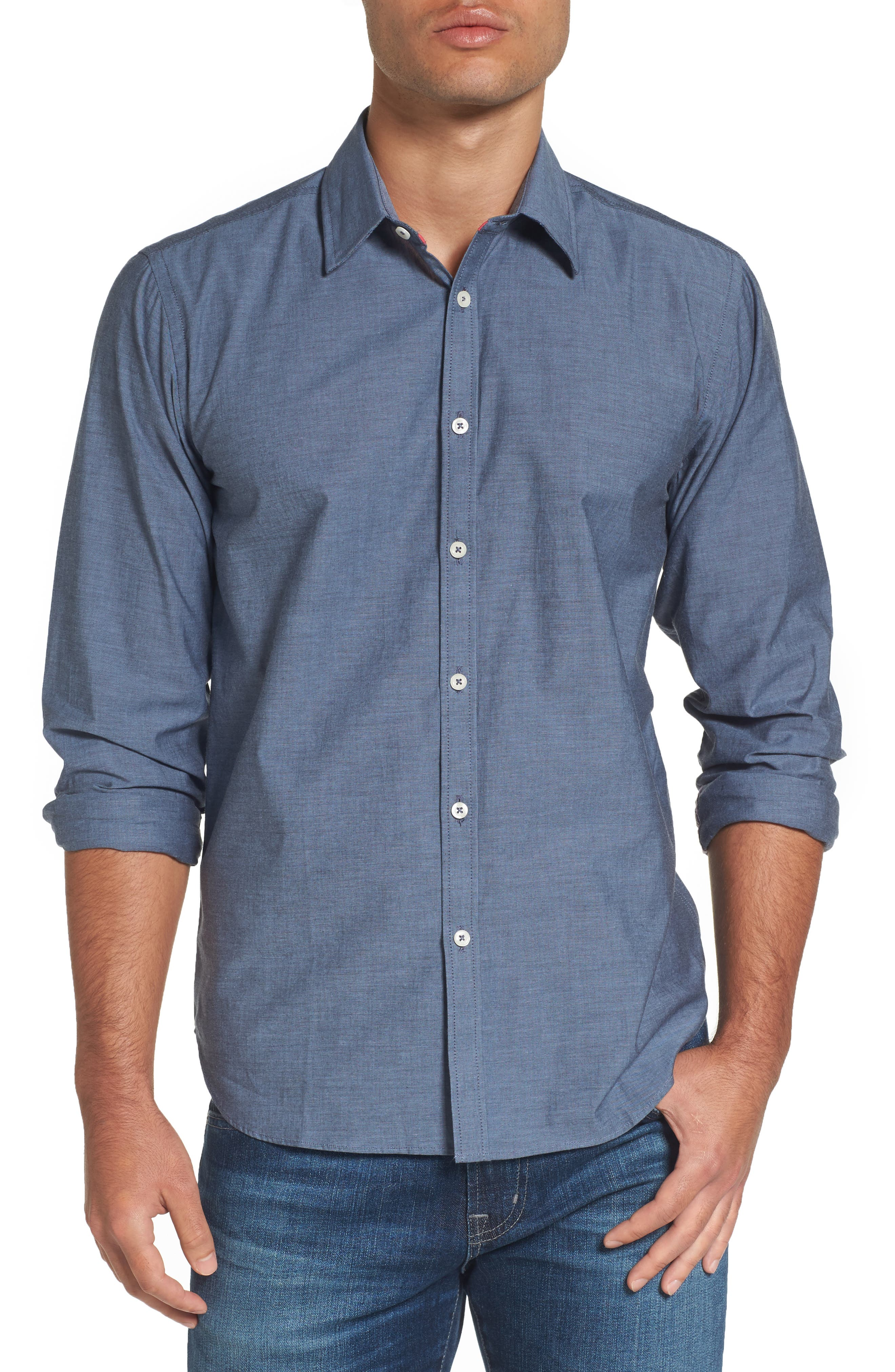 Fitted Sport Shirt,                         Main,                         color, Medium Blue
