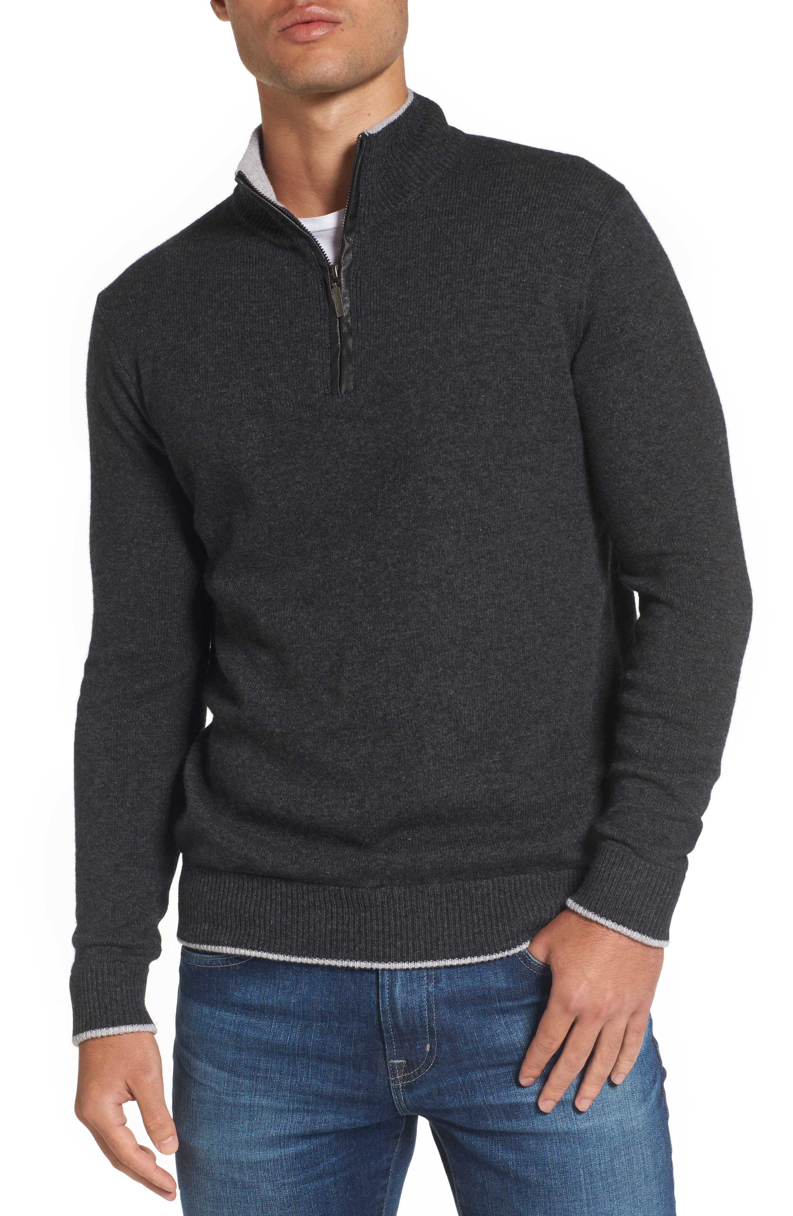Wool Blend Quarter Zip Sweater,                             Main thumbnail 1, color,                             Dark Grey