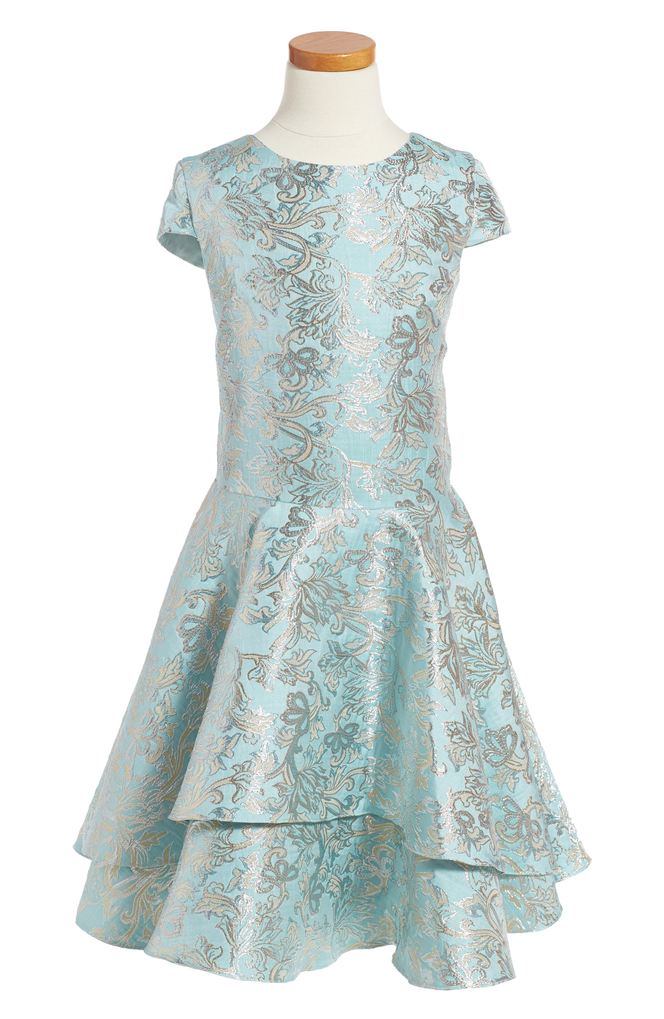 Main Image - David Charles Floral Brocade Dress (Big Girls)