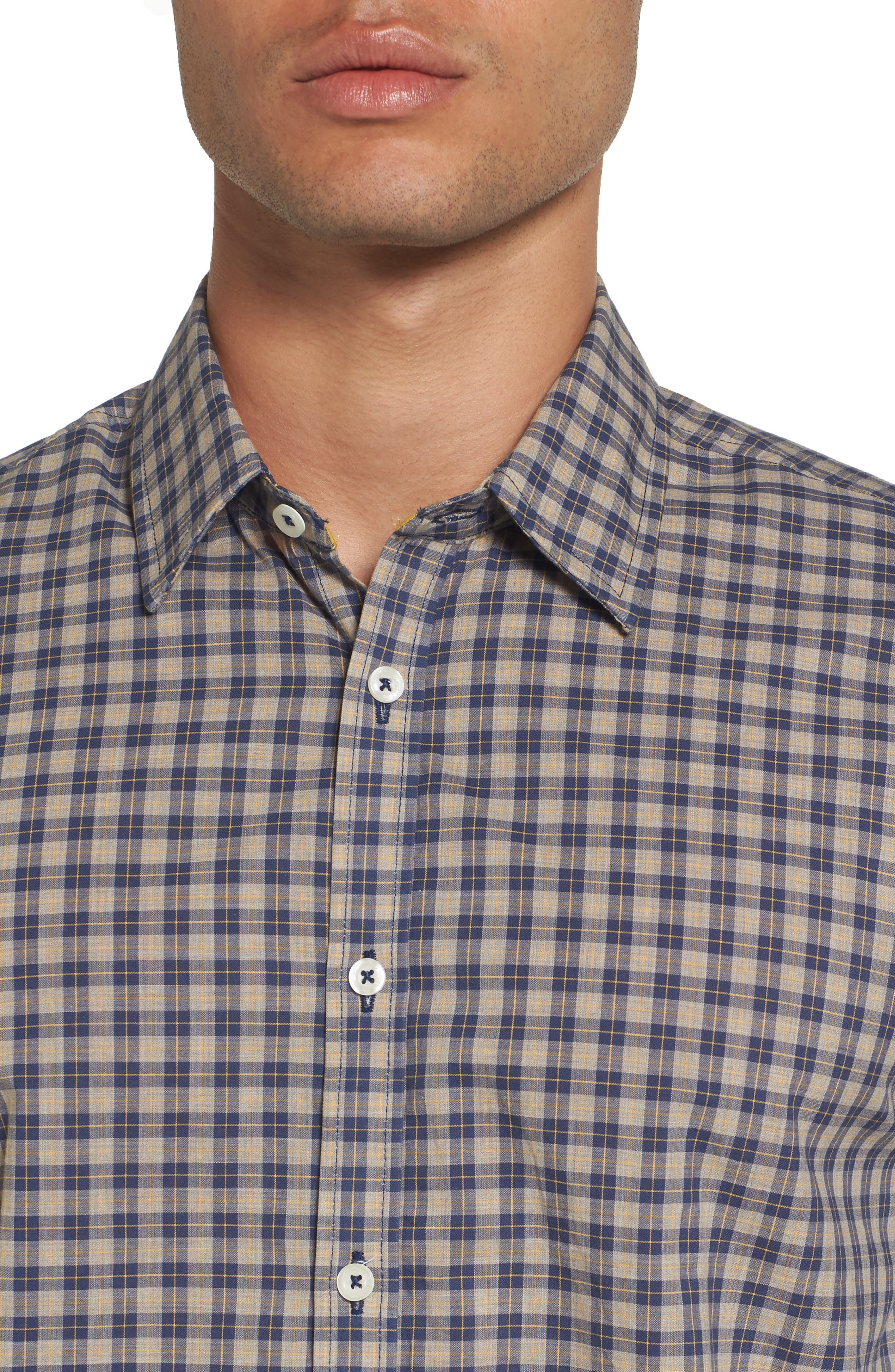 Fitted Plaid Sport Shirt,                             Alternate thumbnail 4, color,                             Open Blue