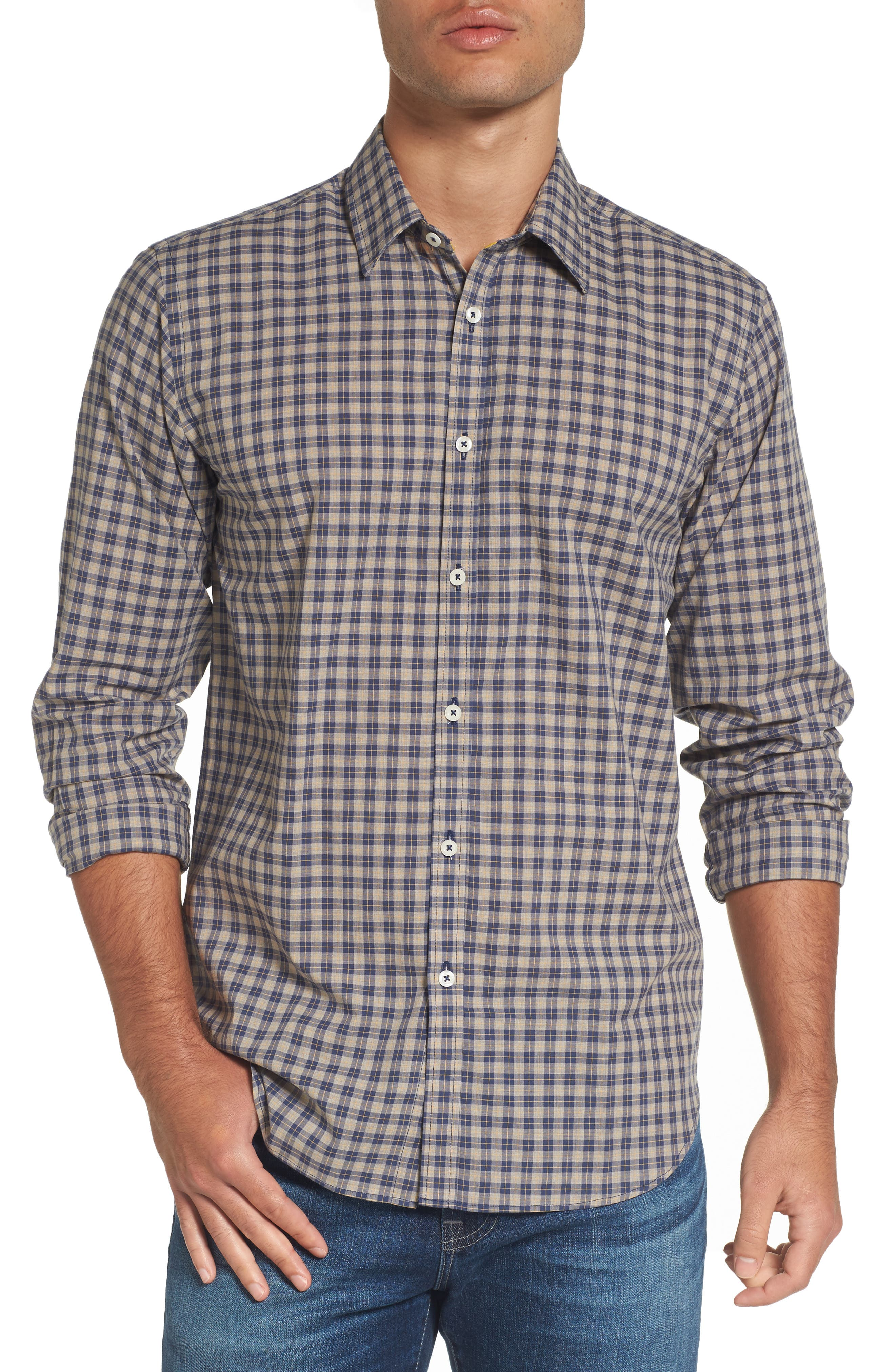 Fitted Plaid Sport Shirt,                         Main,                         color, Open Blue
