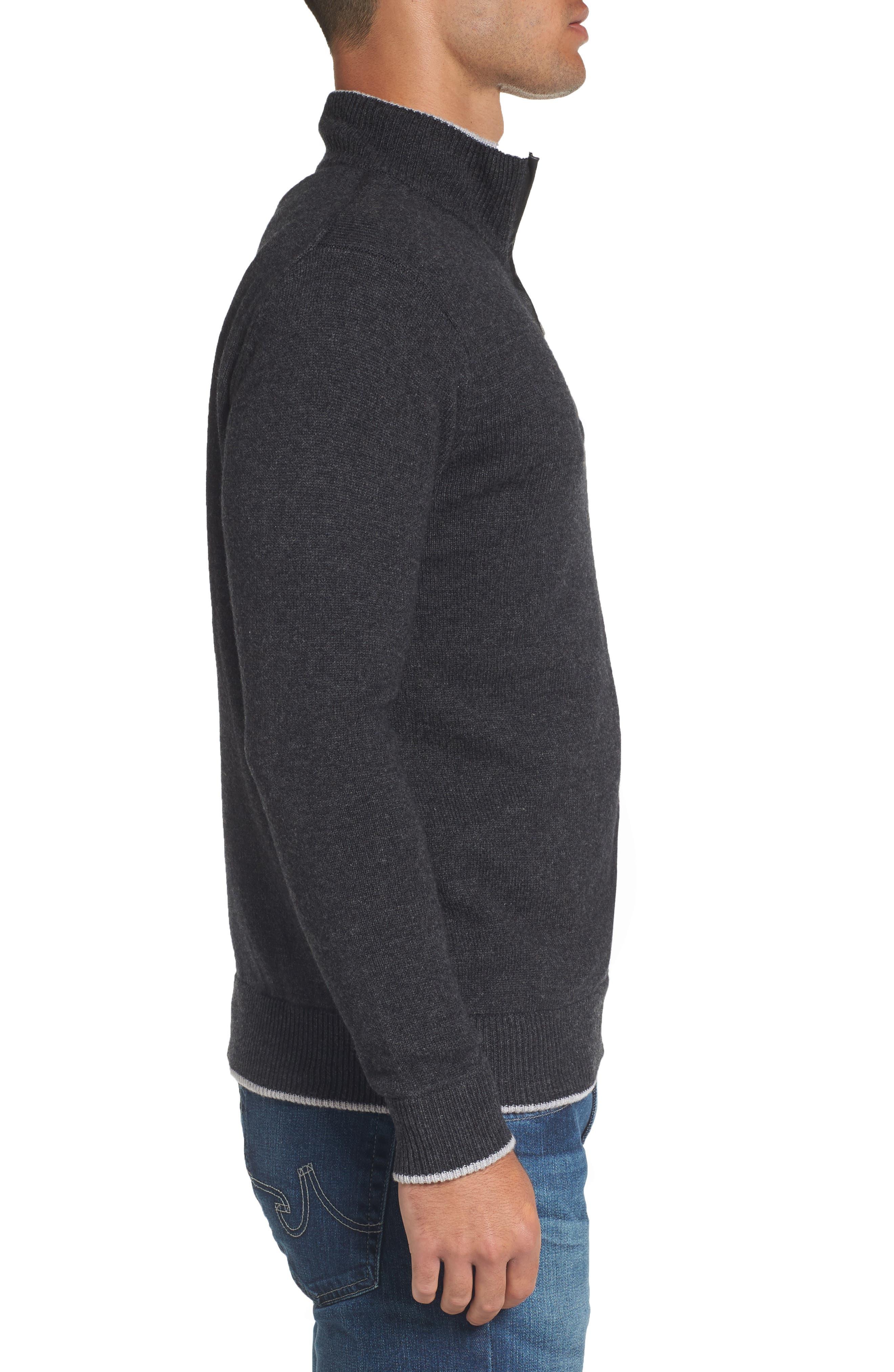 Wool Blend Quarter Zip Sweater,                             Alternate thumbnail 3, color,                             Dark Grey