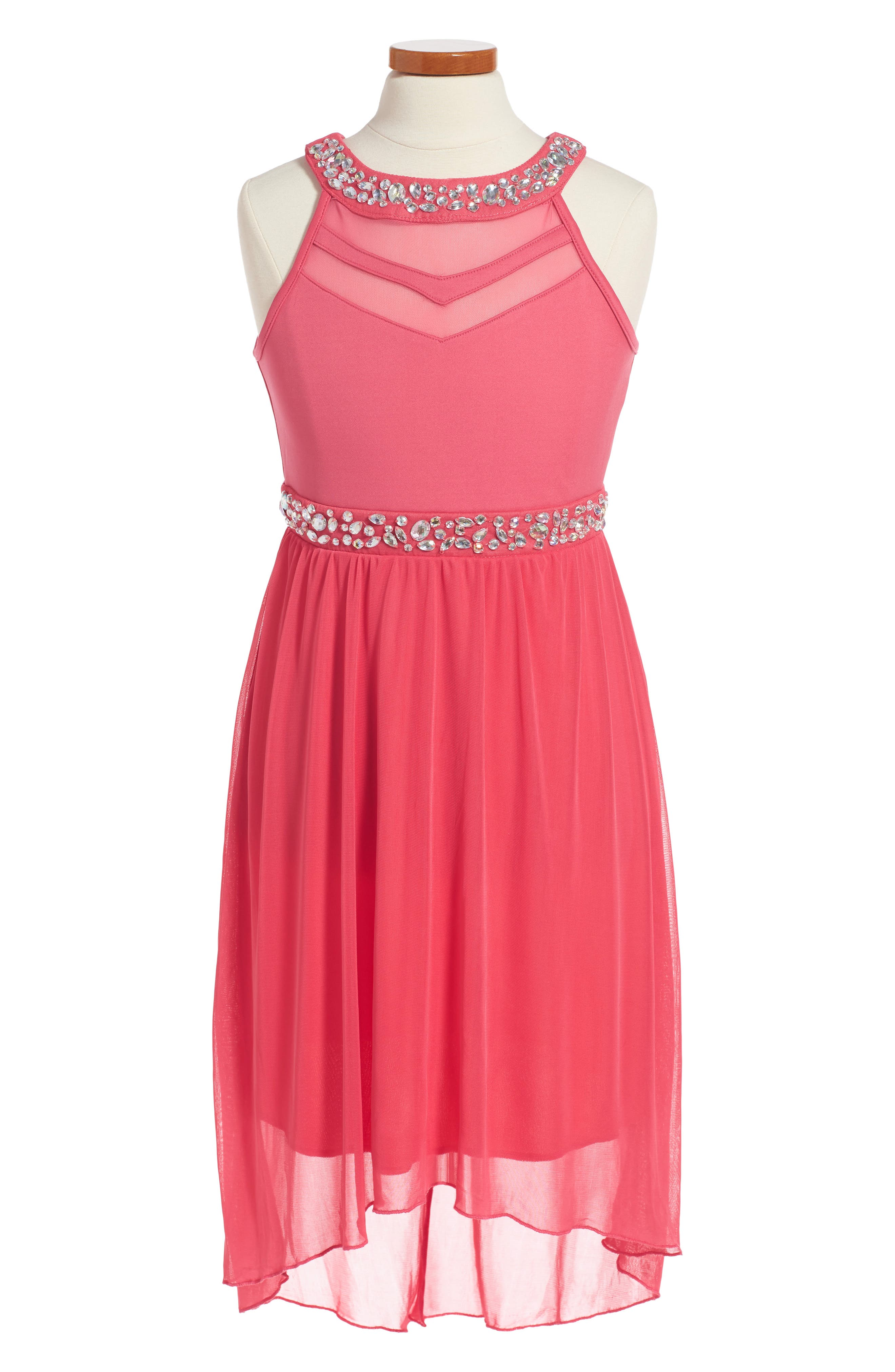Sleeveless High/Low Dress,                         Main,                         color, Coral
