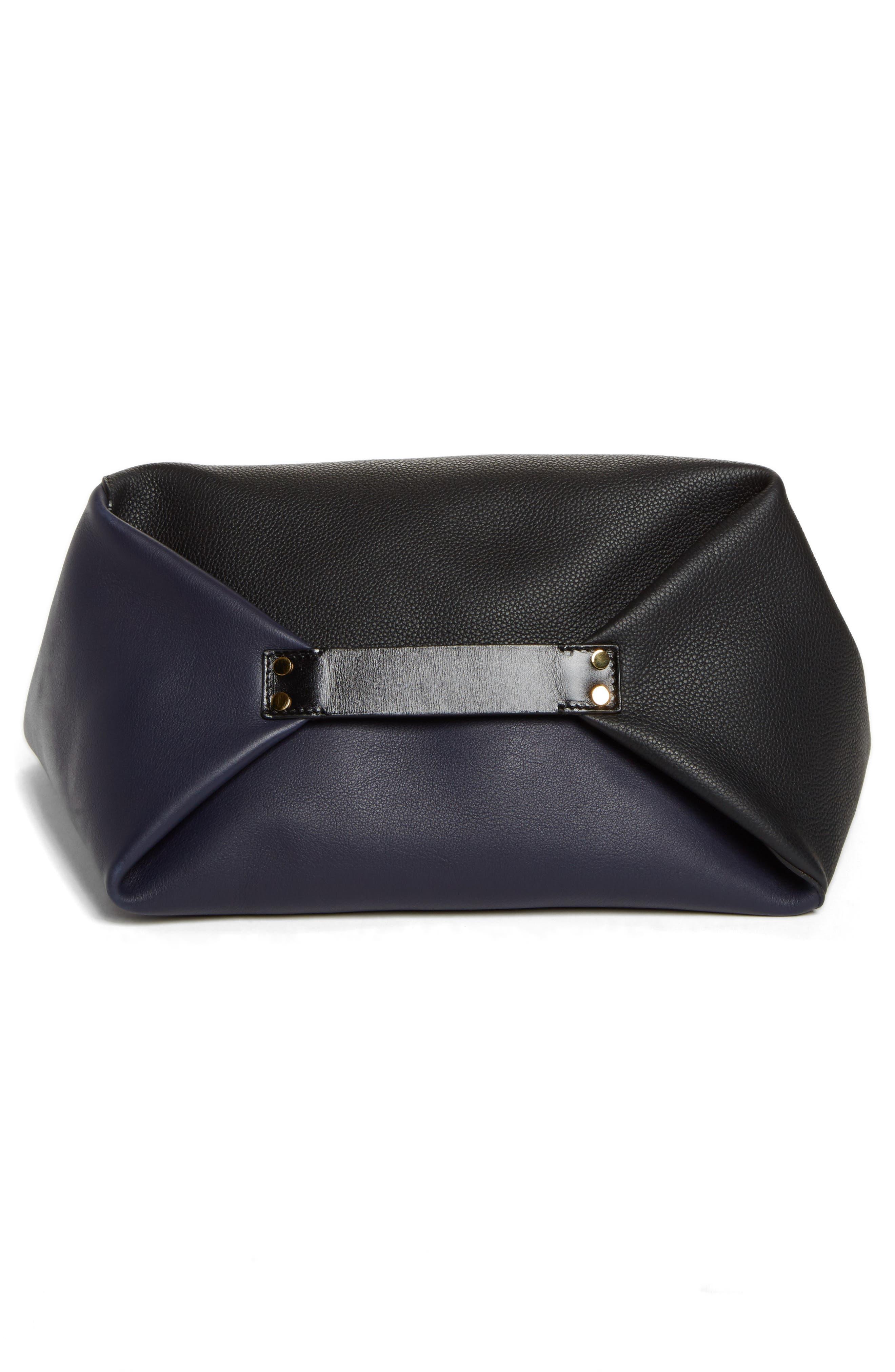 Calfskin Leather Sling Bag,                             Alternate thumbnail 5, color,                             Midnight Blue/ Black