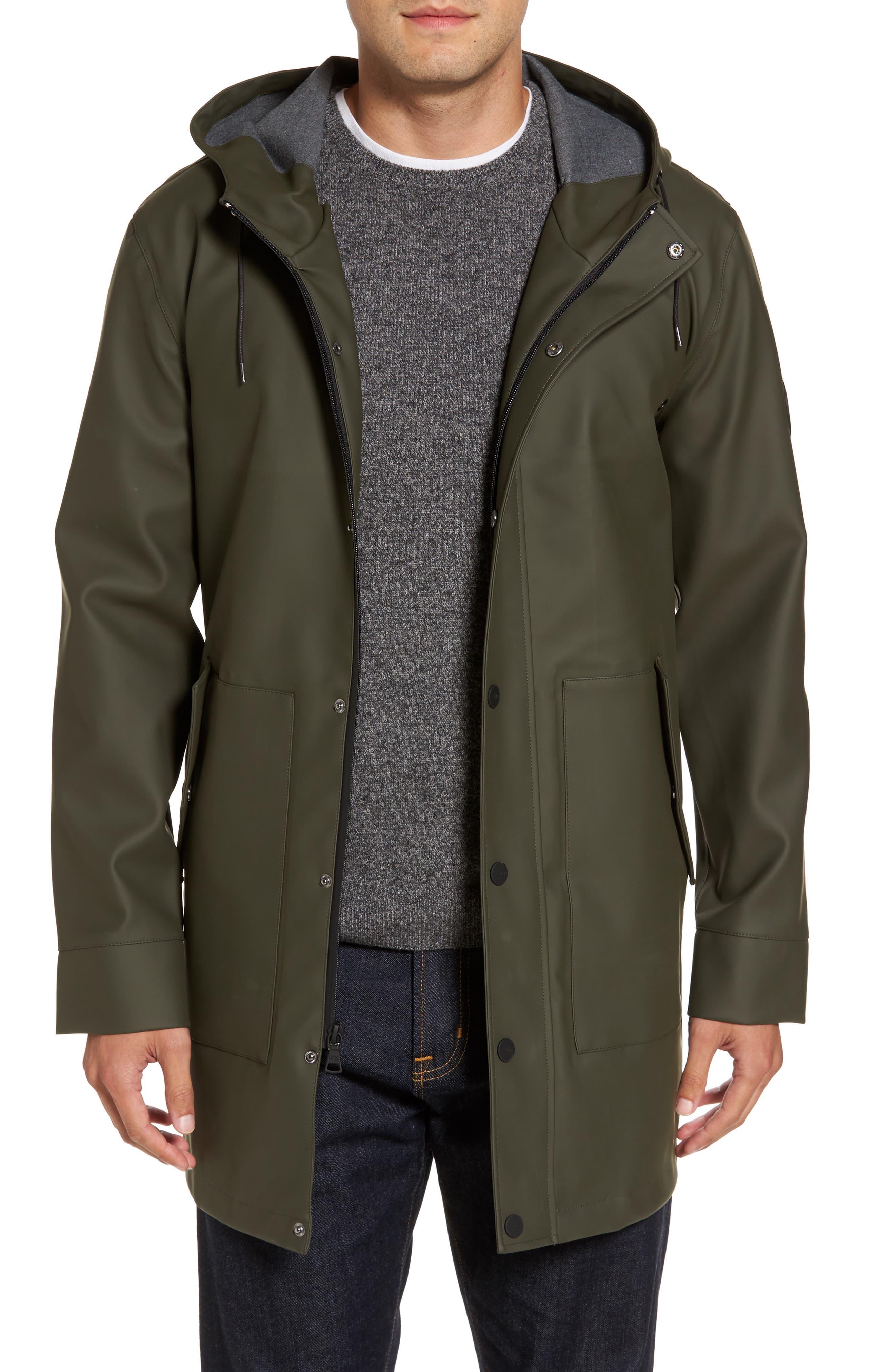 Hooded Raincoat,                         Main,                         color, Olive