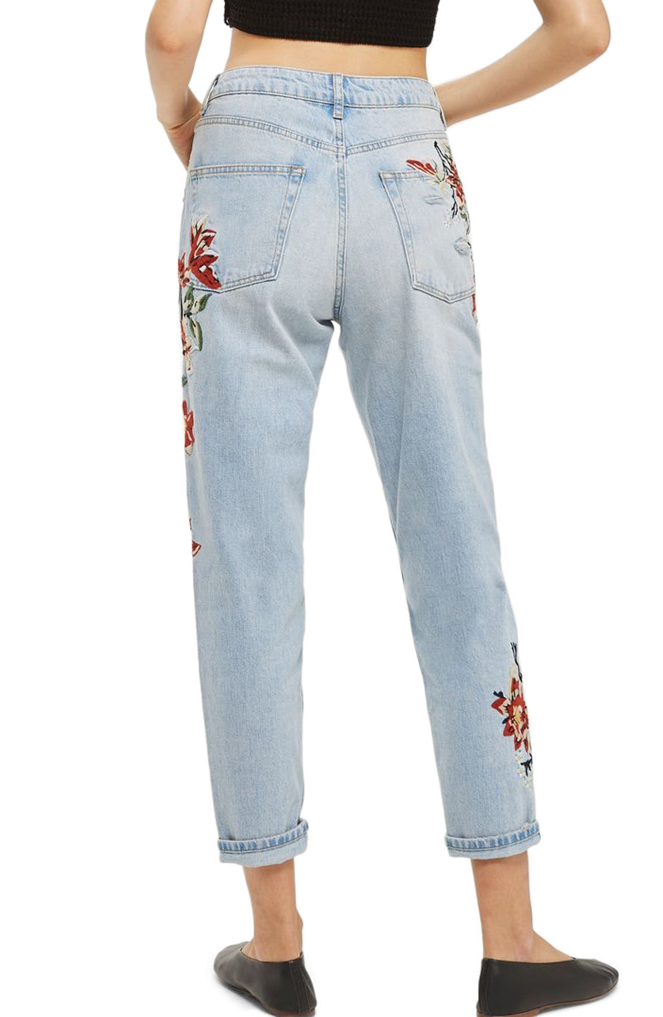 Alternate Image 2  - Topshop Fire Flower High Rise Ripped Mom Jeans (Petite)