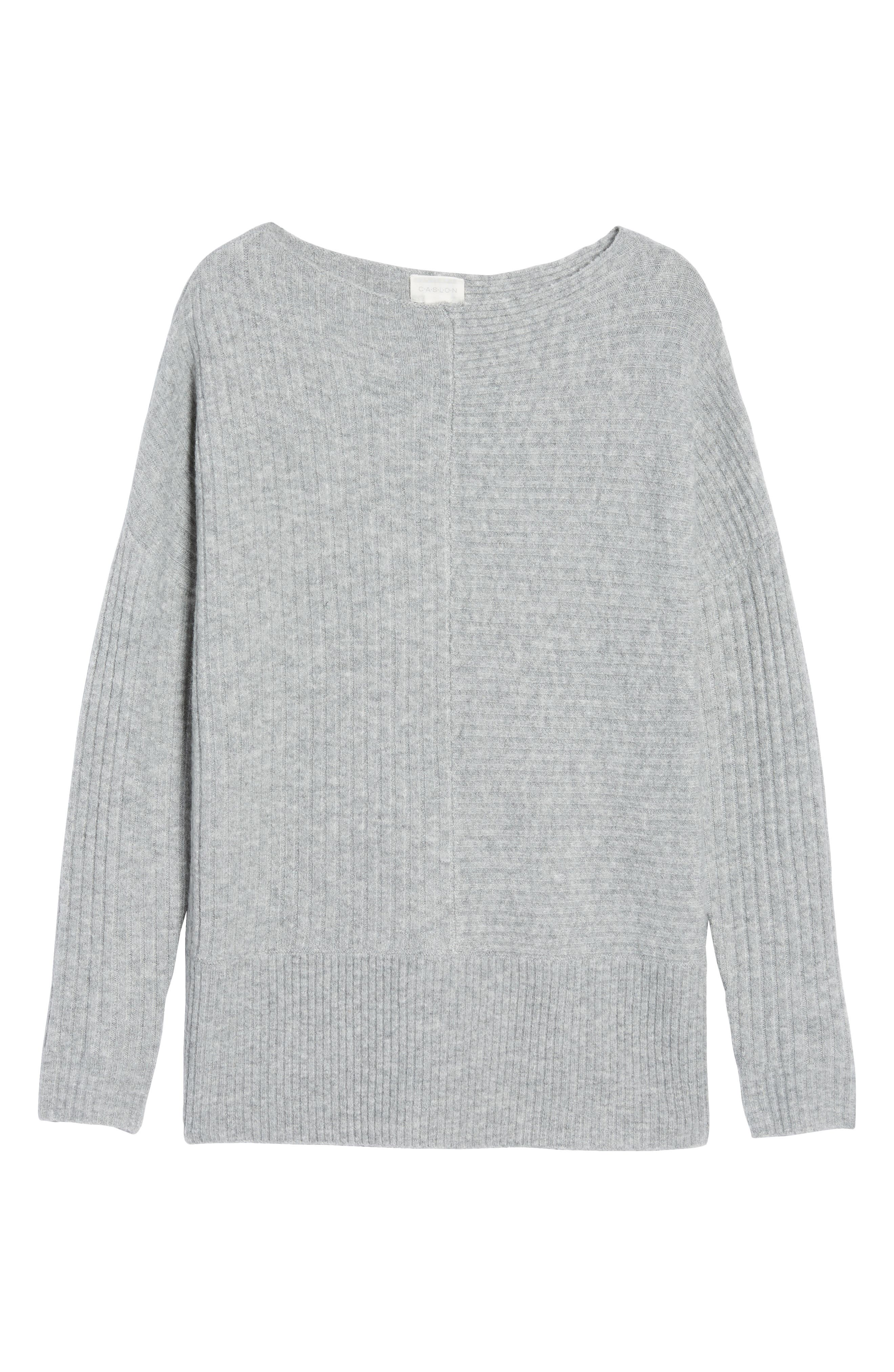 Multi Ribbed Fleece Knit Sweater,                             Alternate thumbnail 6, color,                             Heather Grey