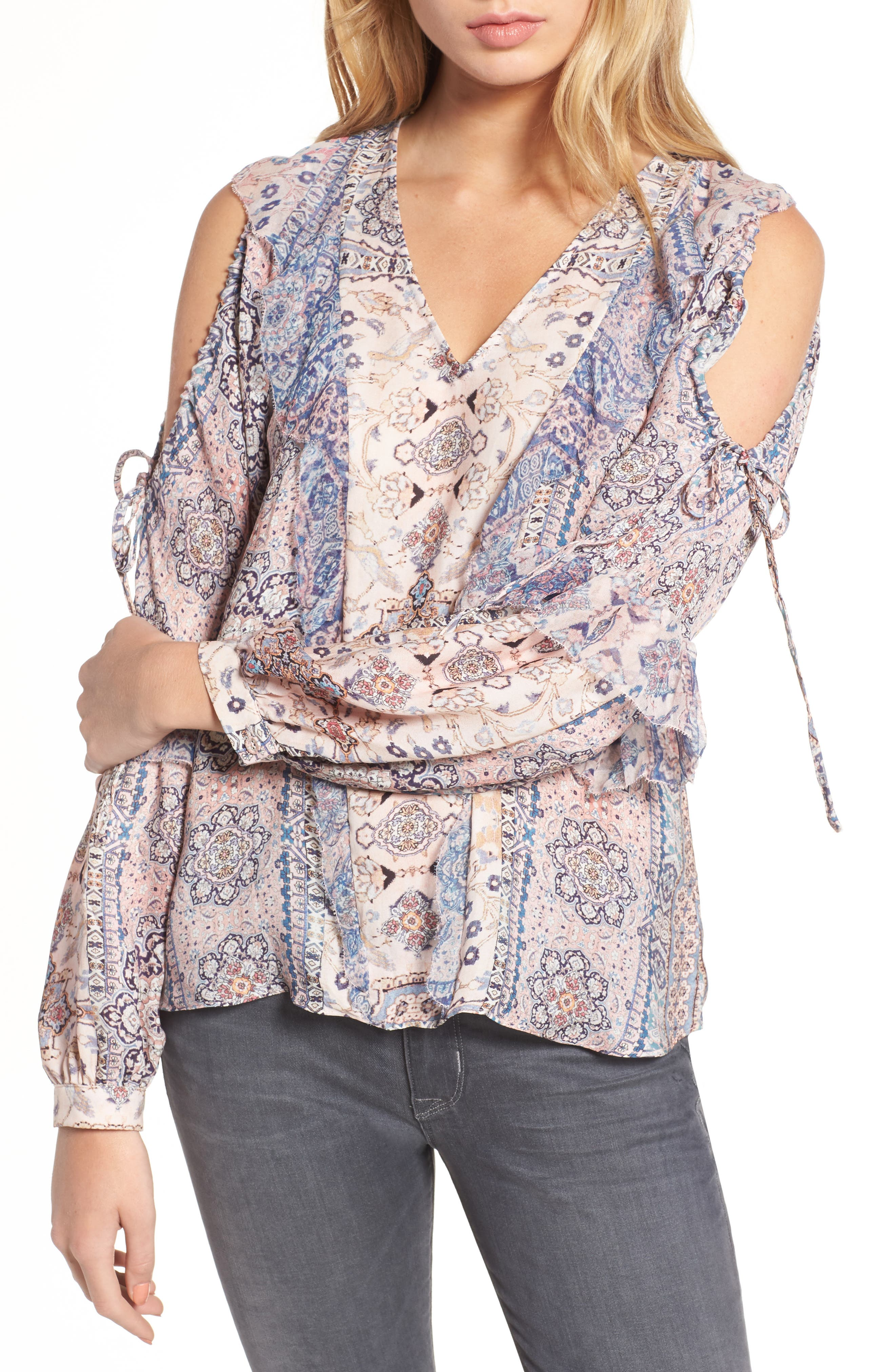 Alice Cold Shoulder Silk Blouse,                             Main thumbnail 1, color,                             Chambers