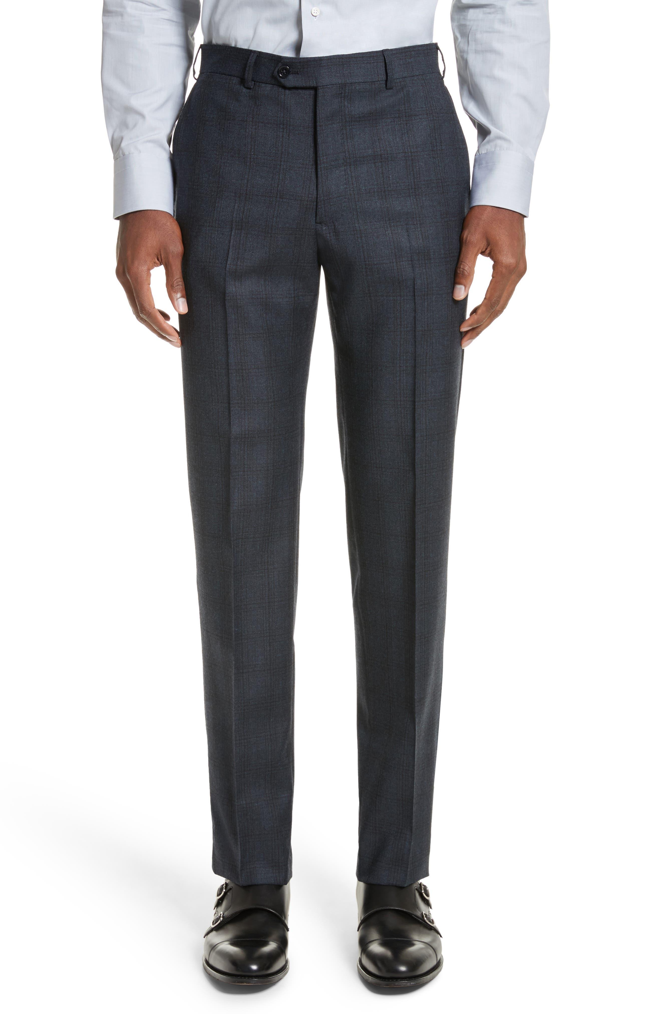 G-Line Trim Fit Plaid Wool Suit,                             Alternate thumbnail 5, color,                             Navy