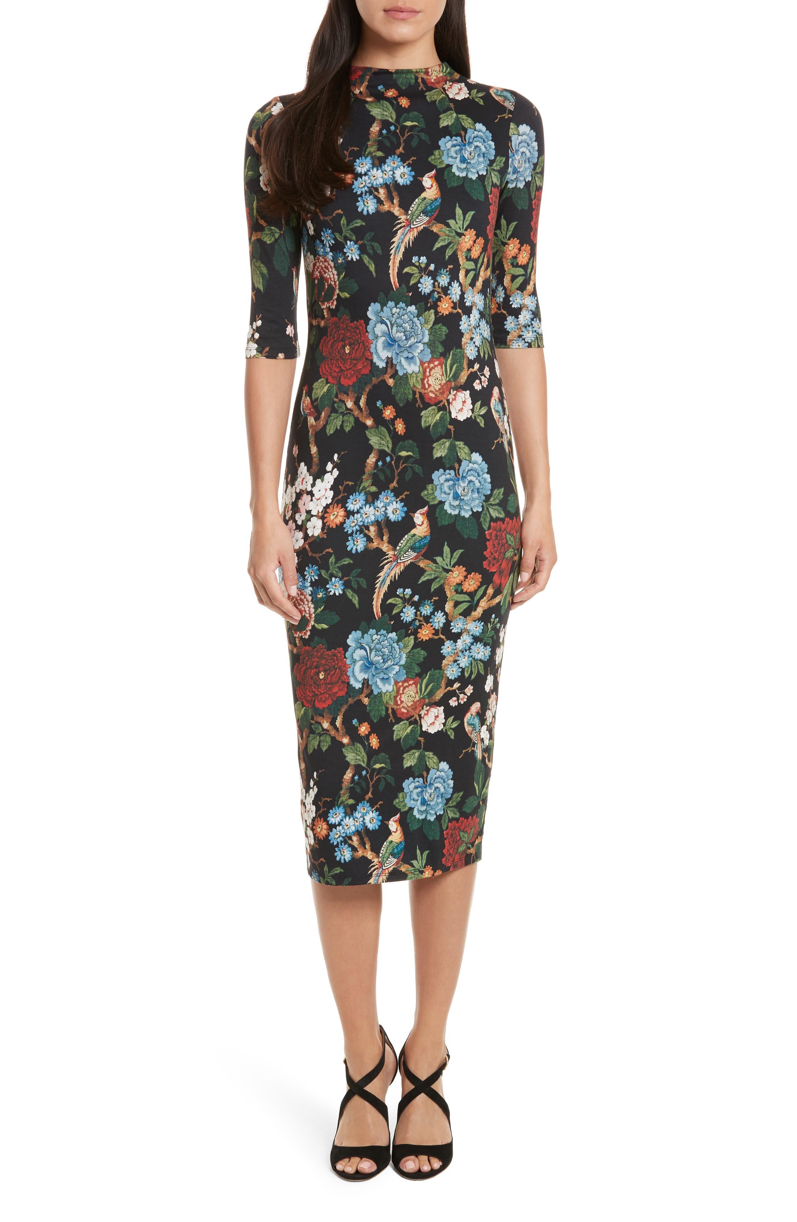 Delora Print Fitted Midi Dress,                         Main,                         color, Chinoiserie Garden/ Black